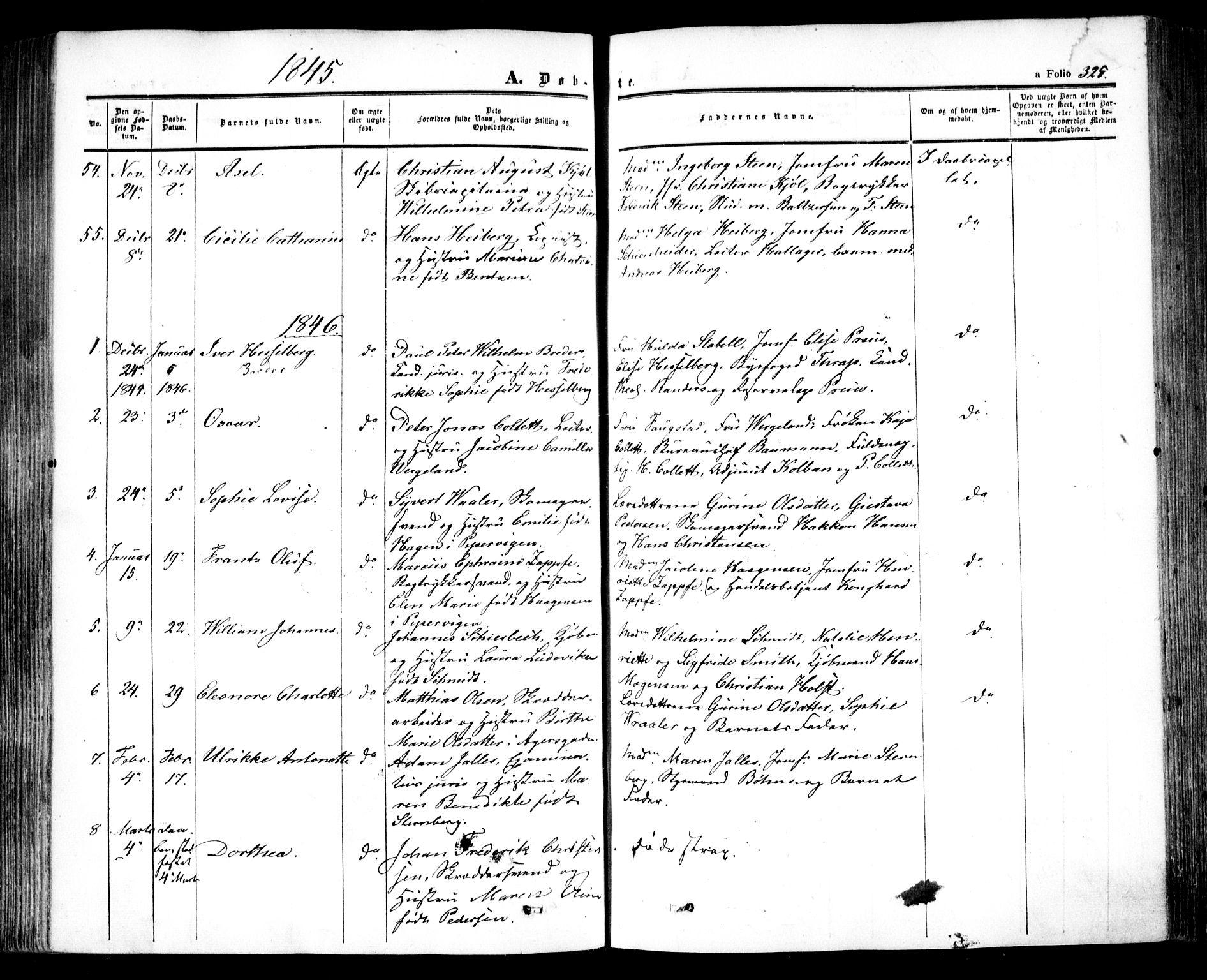 SAO, Oslo domkirke Kirkebøker, F/Fa/L0013: Ministerialbok nr. 13, 1844-1864, s. 325