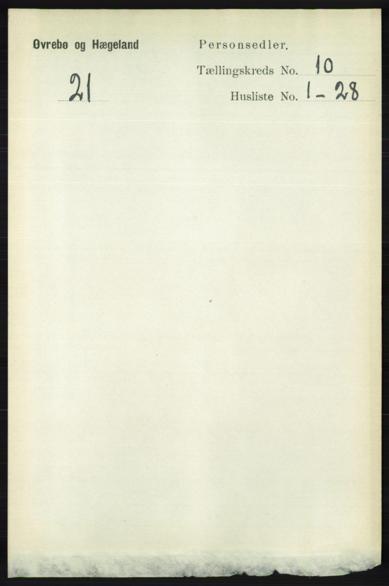 RA, Folketelling 1891 for 1016 Øvrebø og Hægeland herred, 1891, s. 2030