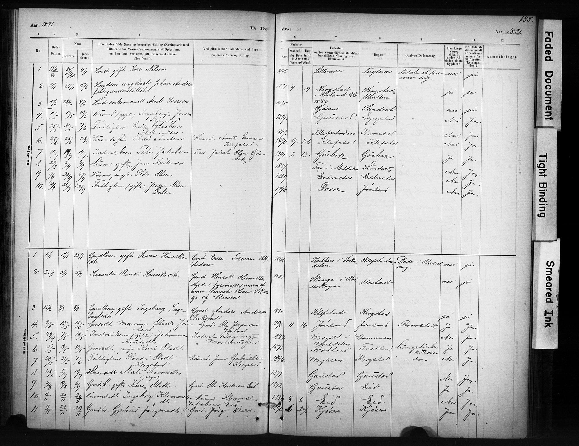 SAT, Ministerialprotokoller, klokkerbøker og fødselsregistre - Sør-Trøndelag, 694/L1127: Ministerialbok nr. 694A01, 1887-1905, s. 155