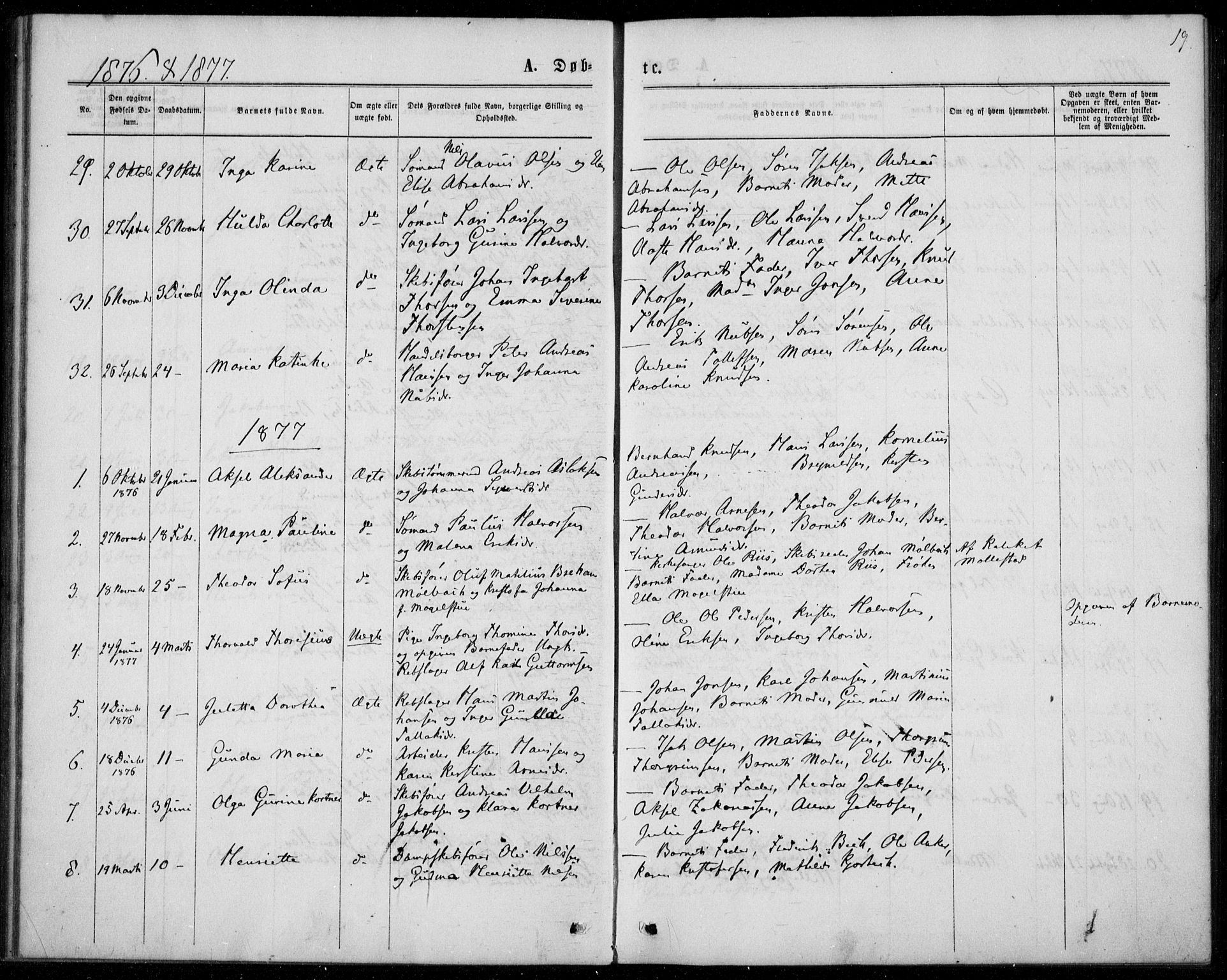 SAKO, Langesund kirkebøker, F/Fa/L0001: Ministerialbok nr. 1, 1870-1877, s. 19