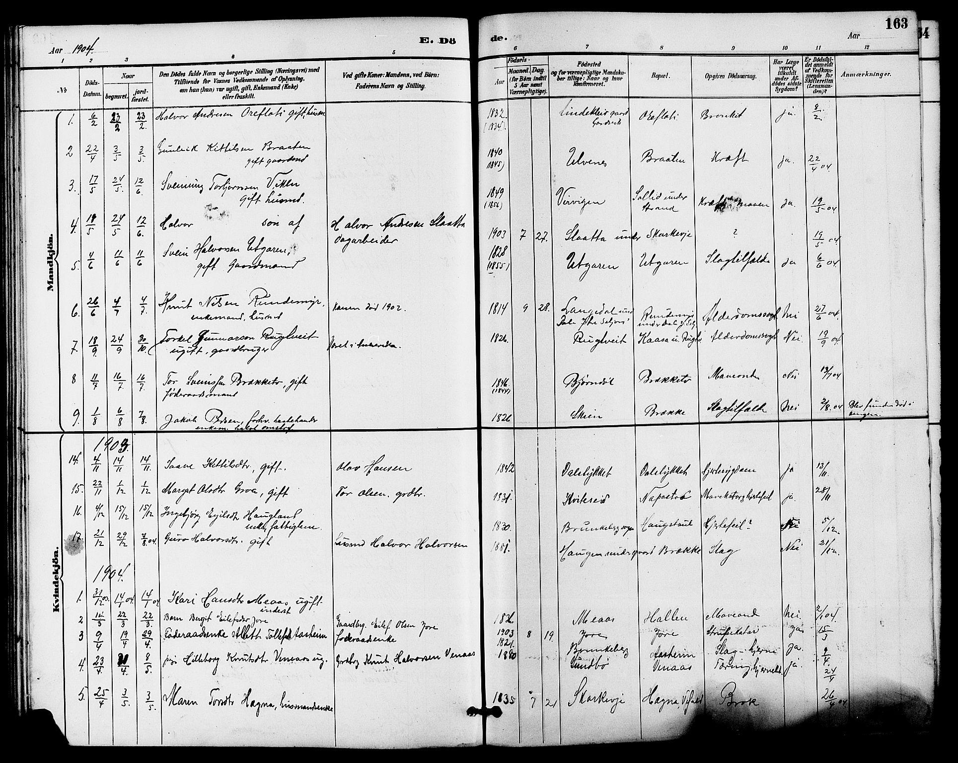 SAKO, Seljord kirkebøker, G/Ga/L0005: Klokkerbok nr. I 5, 1887-1914, s. 163