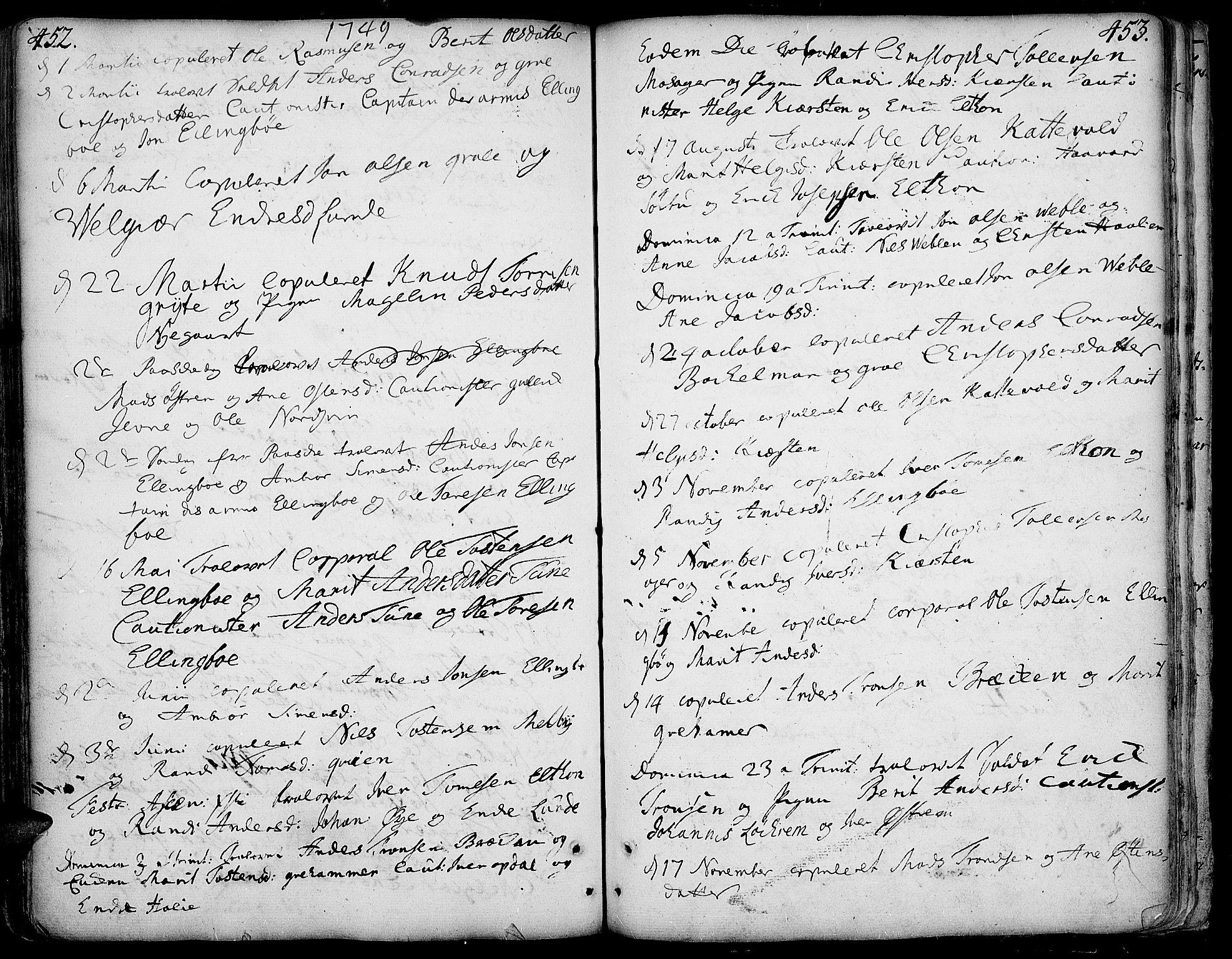 SAH, Vang prestekontor, Valdres, Ministerialbok nr. 1, 1730-1796, s. 452-453