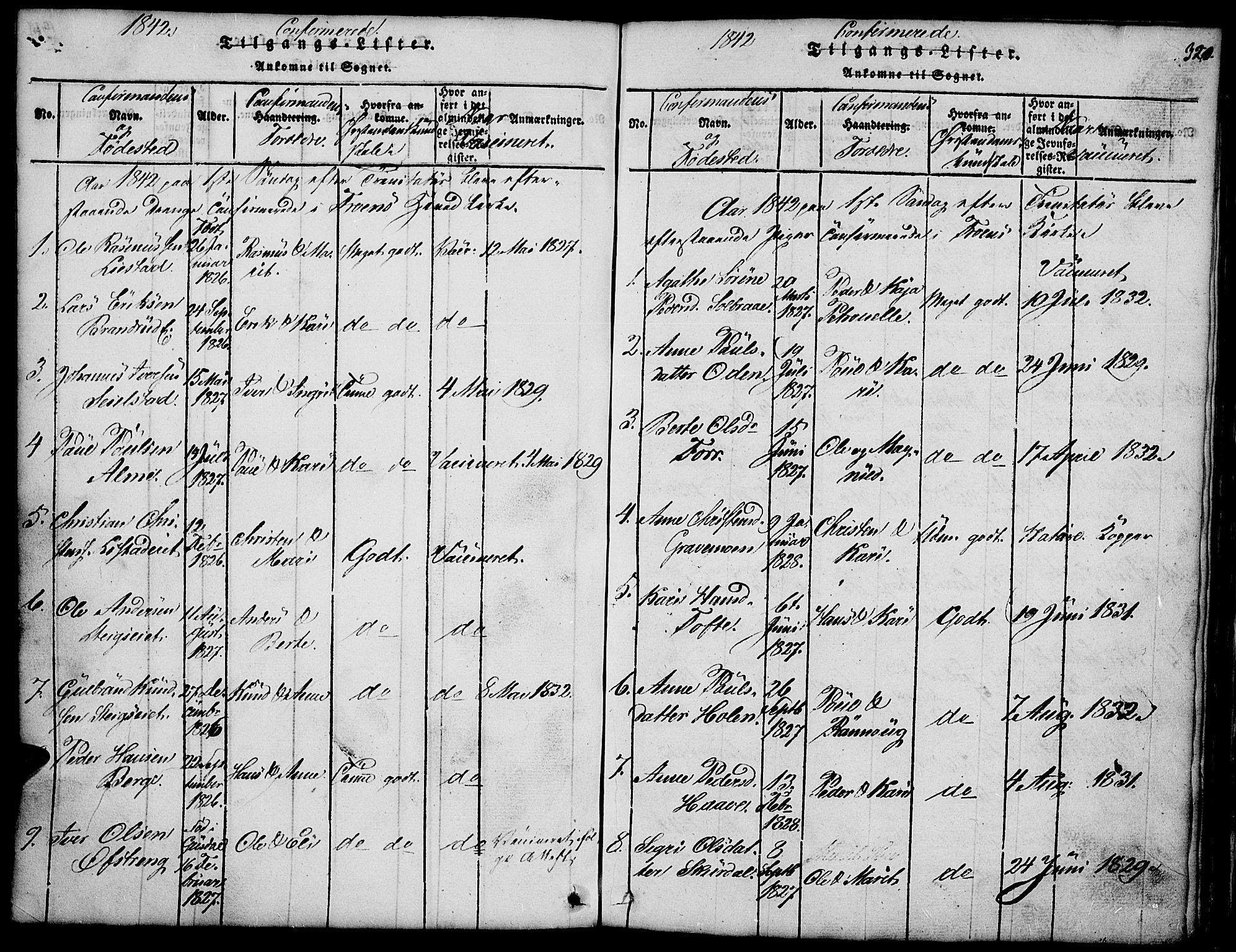 SAH, Fron prestekontor, H/Ha/Hab/L0001: Klokkerbok nr. 1, 1816-1843, s. 320