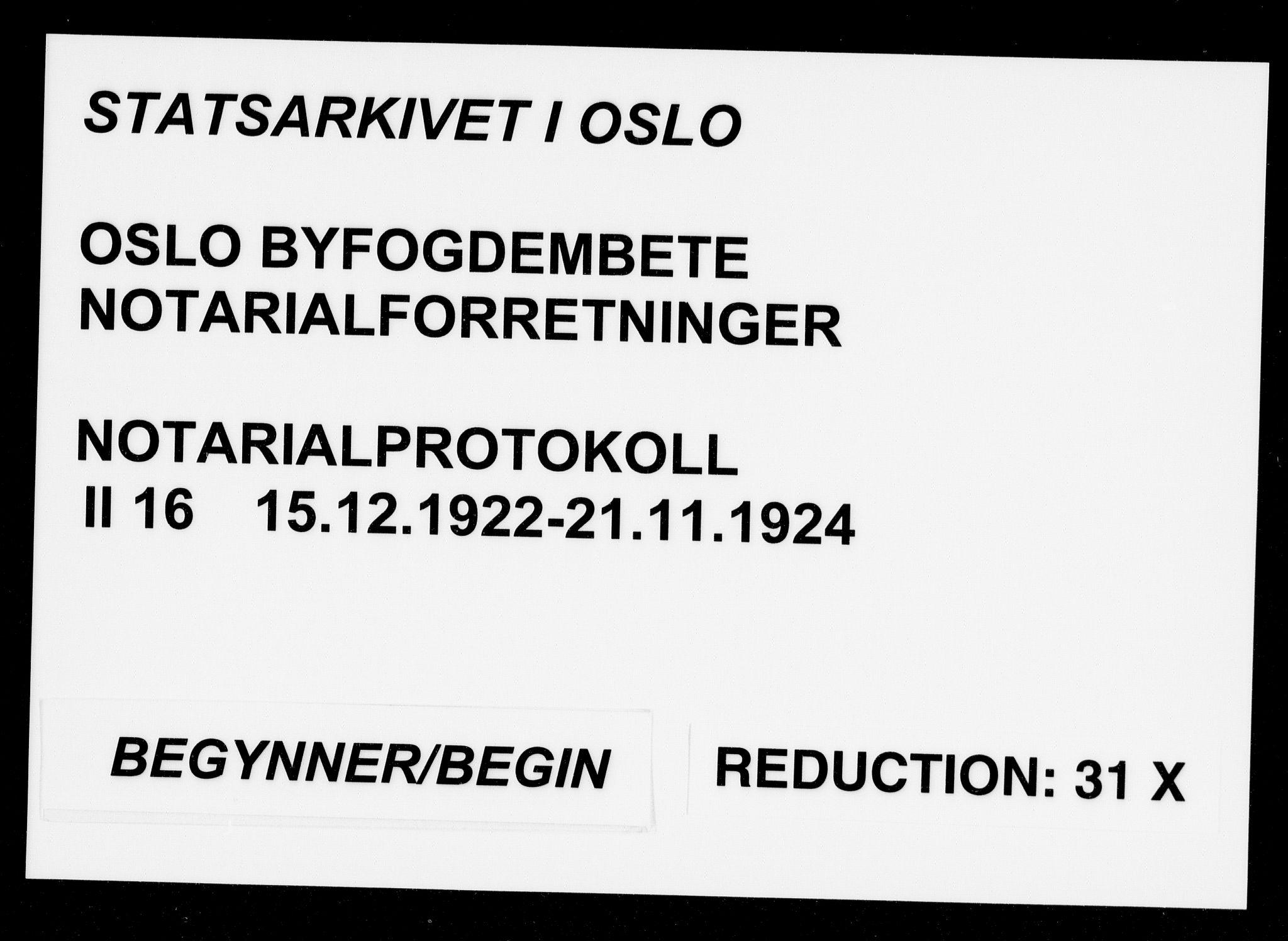 SAO, Oslo byfogd avd. I, L/Lb/Lbb/L0016: Notarialprotokoll, rekke II: Vigsler, 1922-1924, s. upaginert
