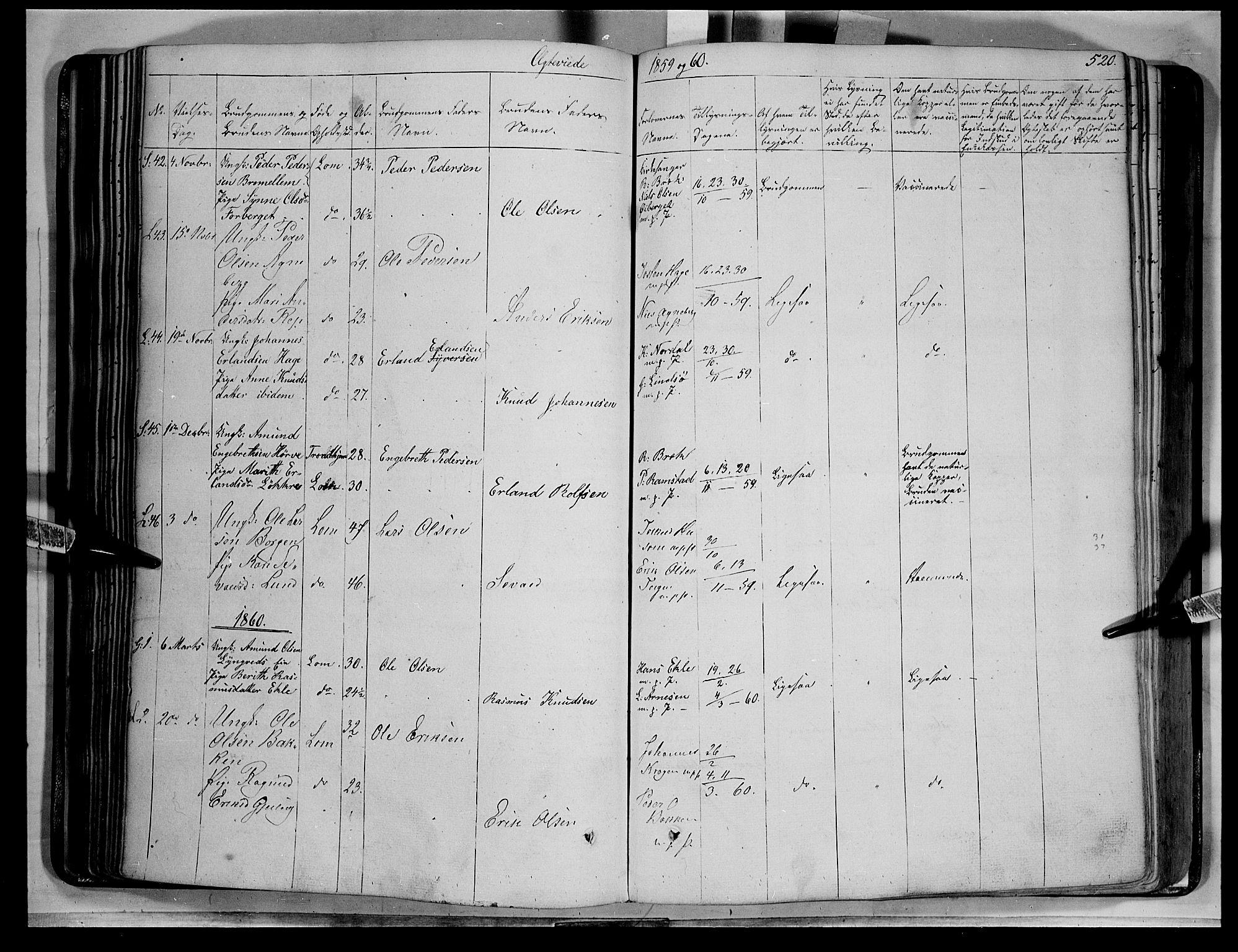 SAH, Lom prestekontor, K/L0006: Ministerialbok nr. 6B, 1837-1863, s. 520