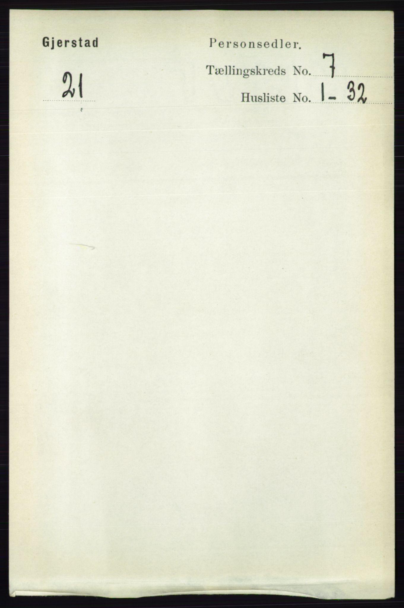 RA, Folketelling 1891 for 0911 Gjerstad herred, 1891, s. 2728