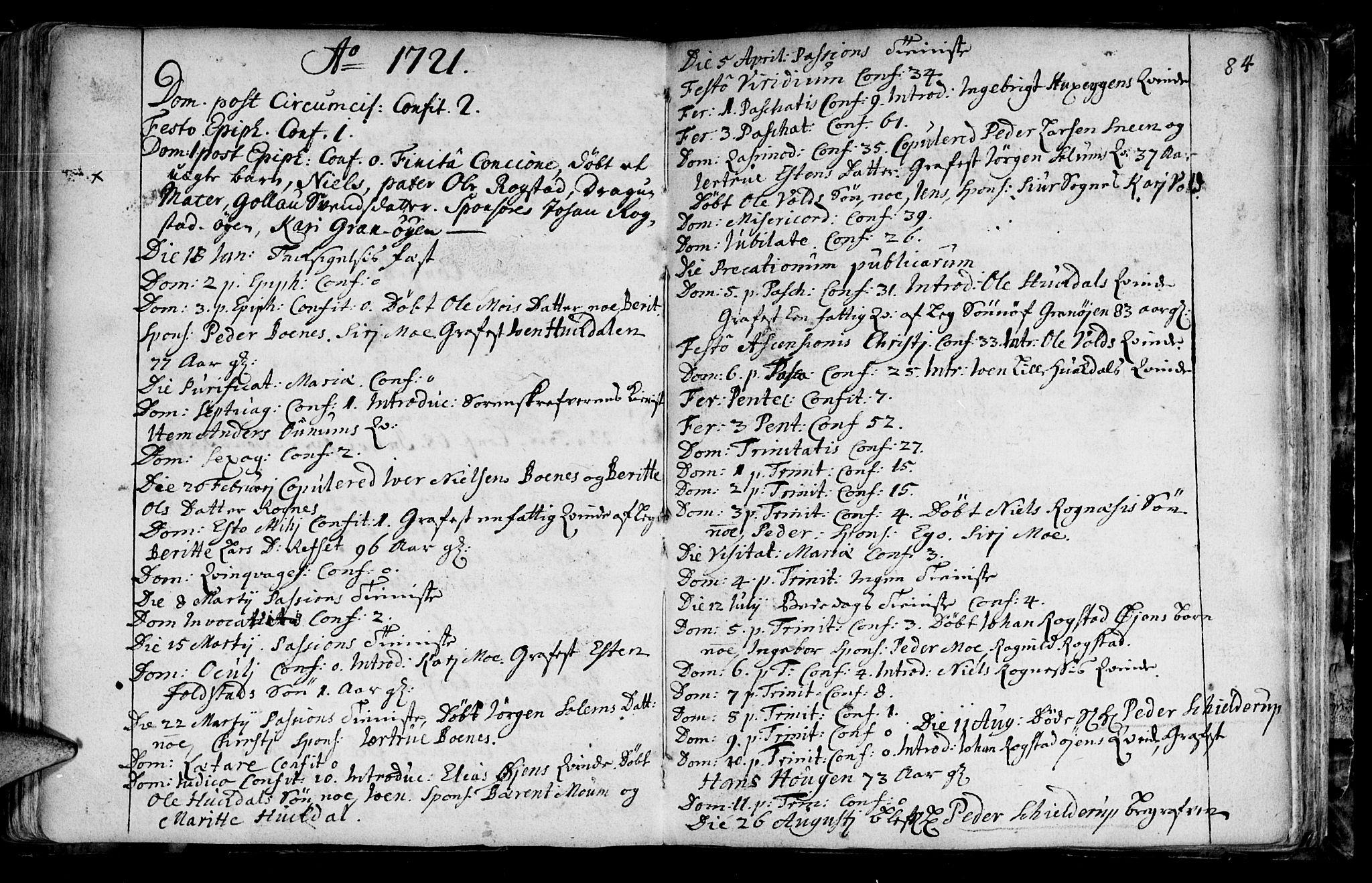 SAT, Ministerialprotokoller, klokkerbøker og fødselsregistre - Sør-Trøndelag, 687/L0990: Ministerialbok nr. 687A01, 1690-1746, s. 84