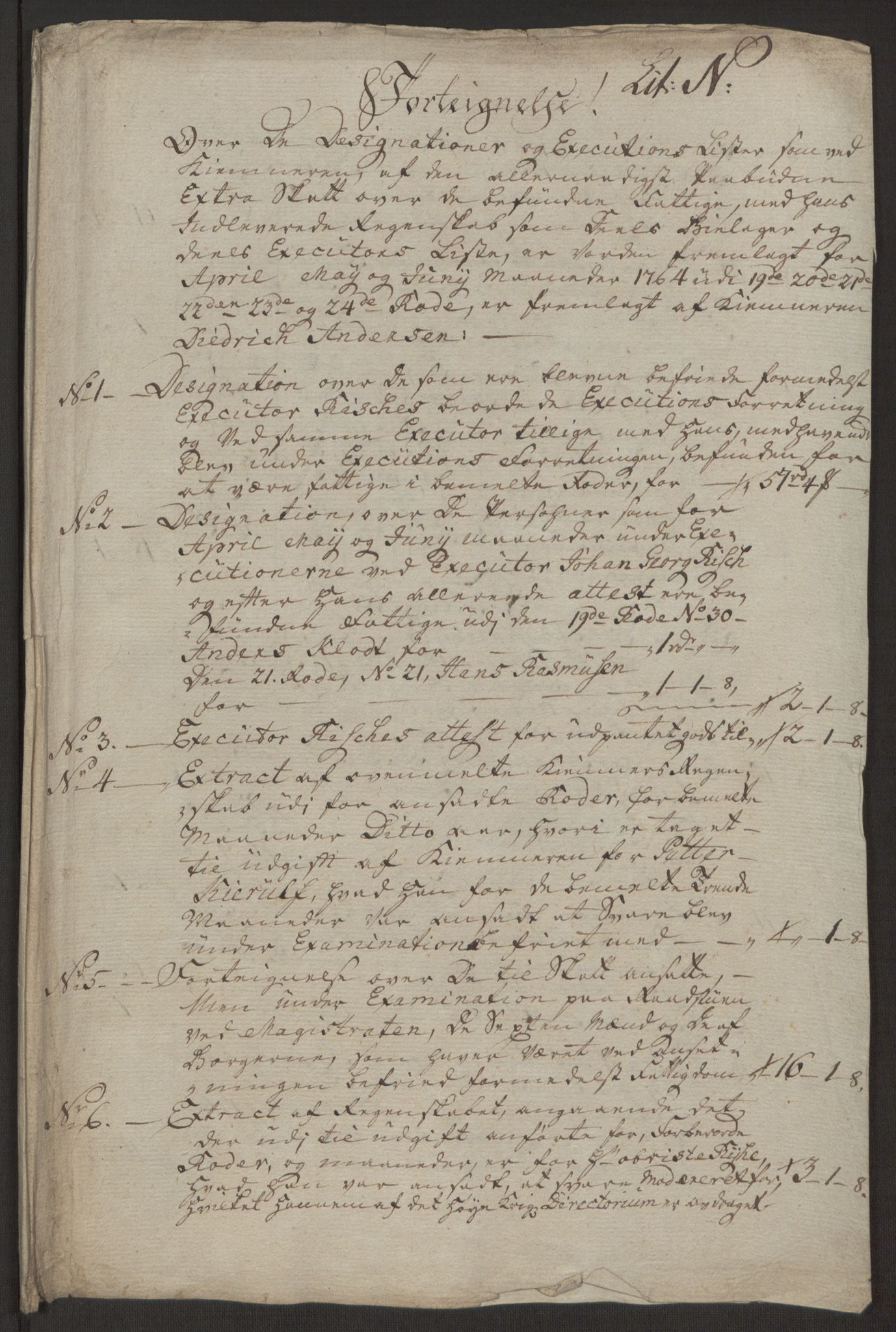 RA, Rentekammeret inntil 1814, Reviderte regnskaper, Byregnskaper, R/Rp/L0368: [P21] Kontribusjonsregnskap, 1764, s. 252