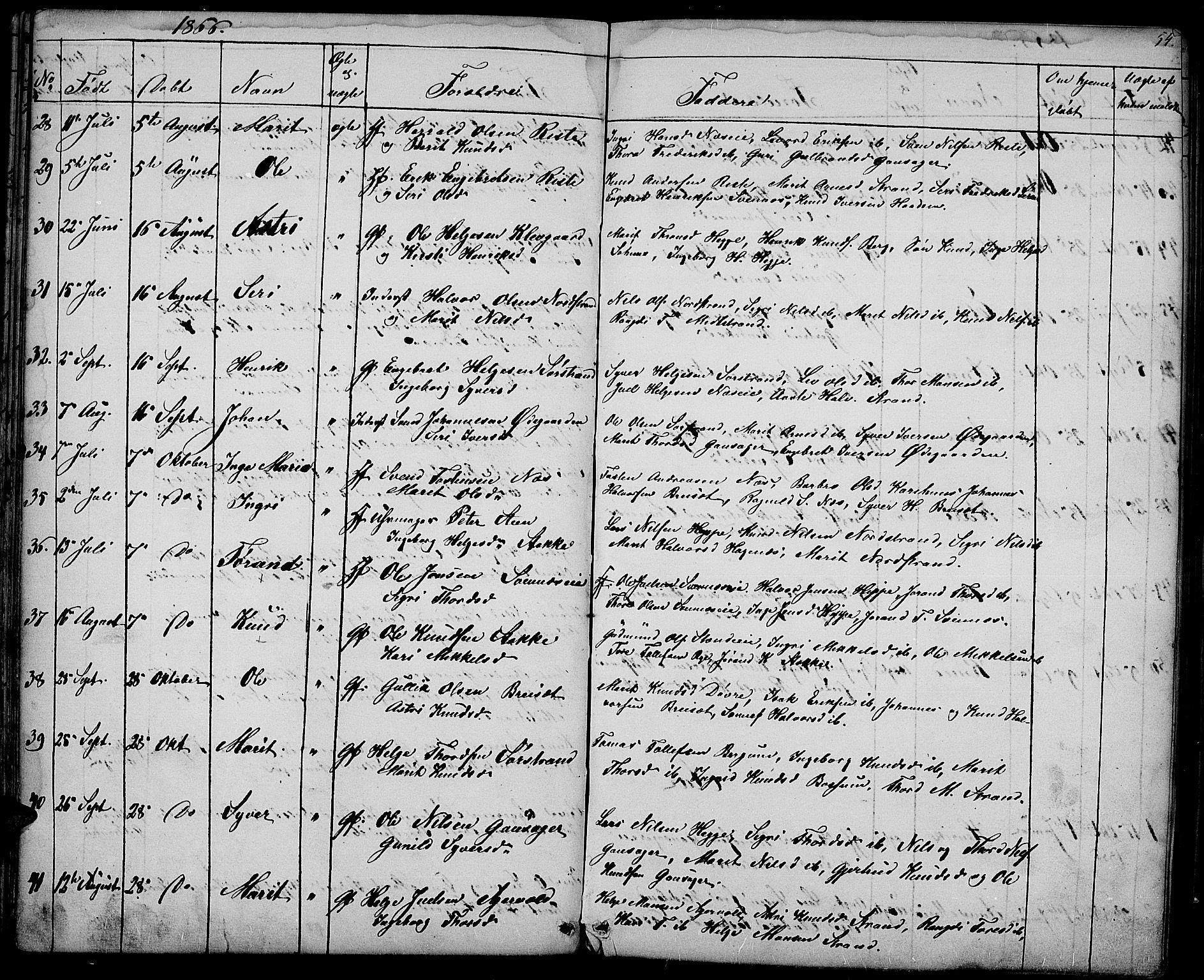 SAH, Nord-Aurdal prestekontor, Klokkerbok nr. 3, 1842-1882, s. 54