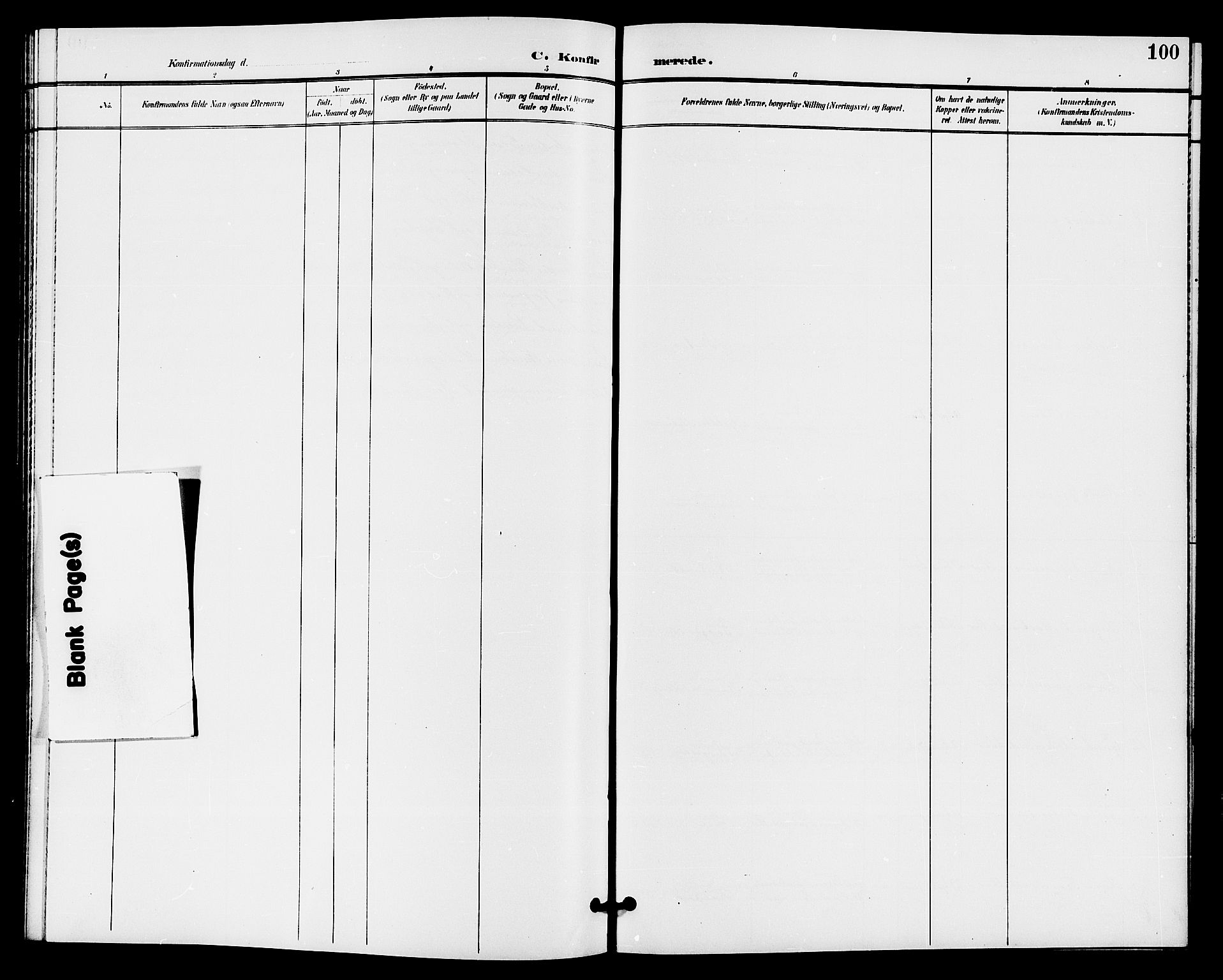 SAKO, Bø kirkebøker, G/Ga/L0006: Klokkerbok nr. 6, 1898-1909, s. 100