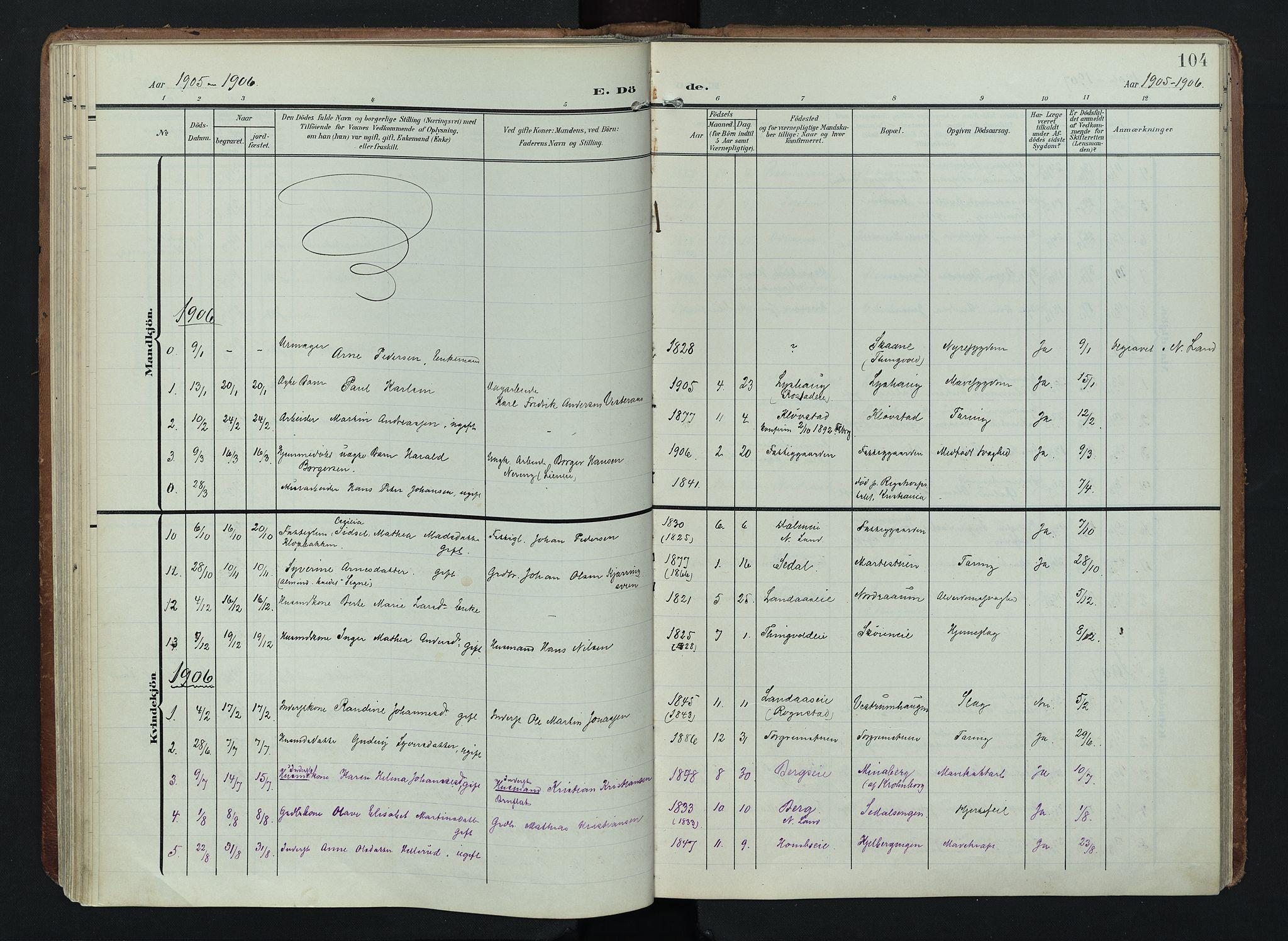 SAH, Søndre Land prestekontor, K/L0005: Ministerialbok nr. 5, 1905-1914, s. 104