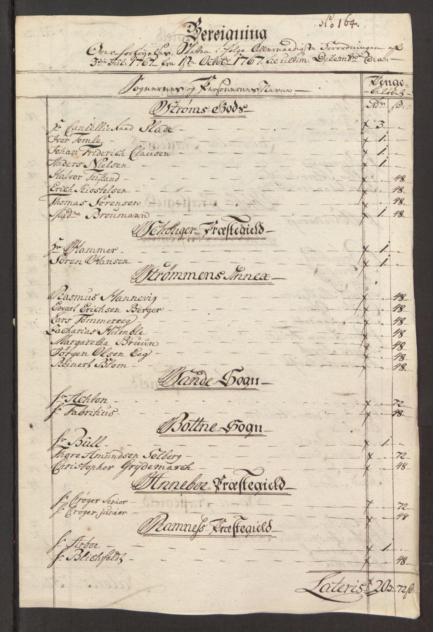 RA, Rentekammeret inntil 1814, Reviderte regnskaper, Fogderegnskap, R32/L1960: Ekstraskatten Jarlsberg grevskap, 1762-1772, s. 128