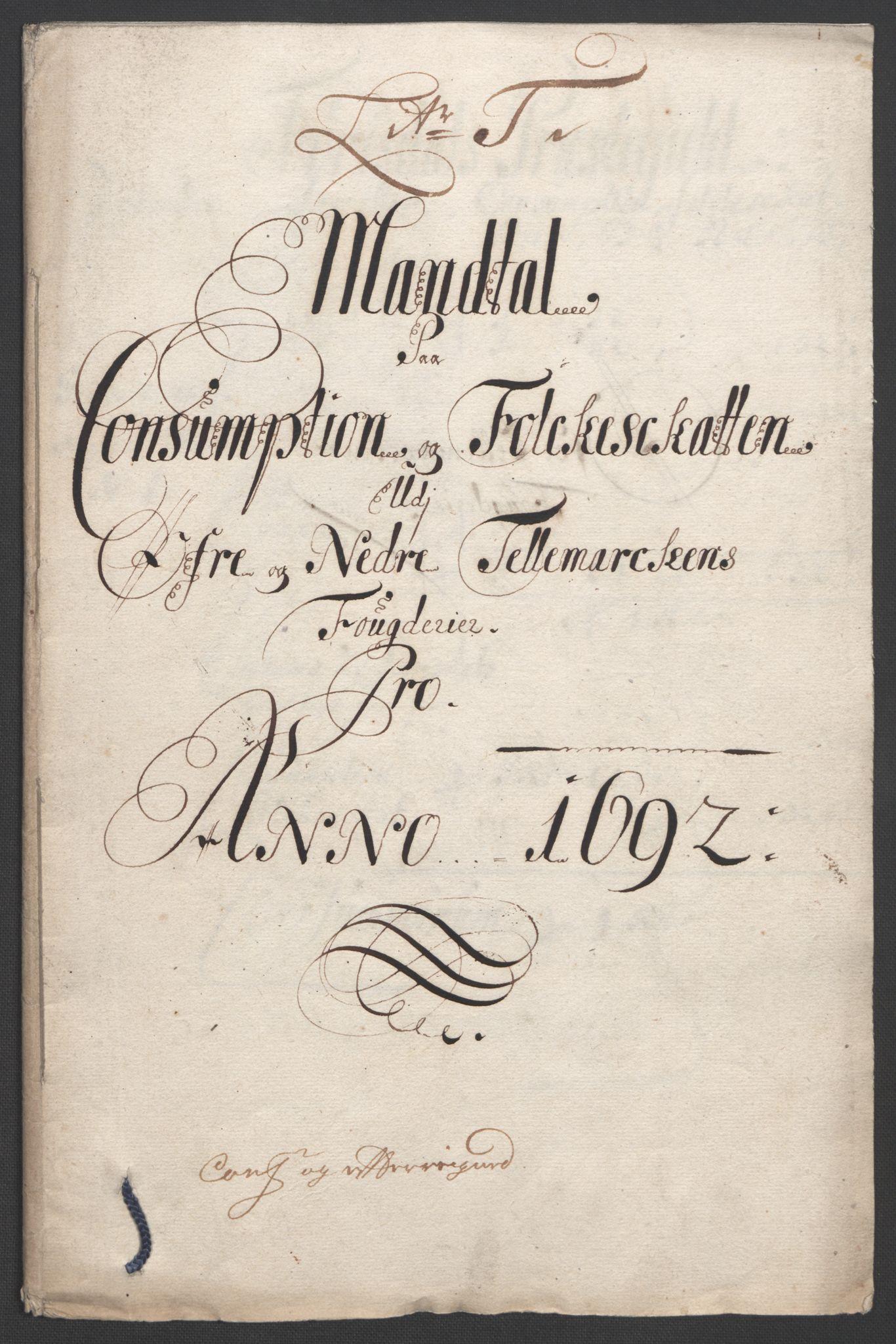 RA, Rentekammeret inntil 1814, Reviderte regnskaper, Fogderegnskap, R35/L2090: Fogderegnskap Øvre og Nedre Telemark, 1692, s. 281