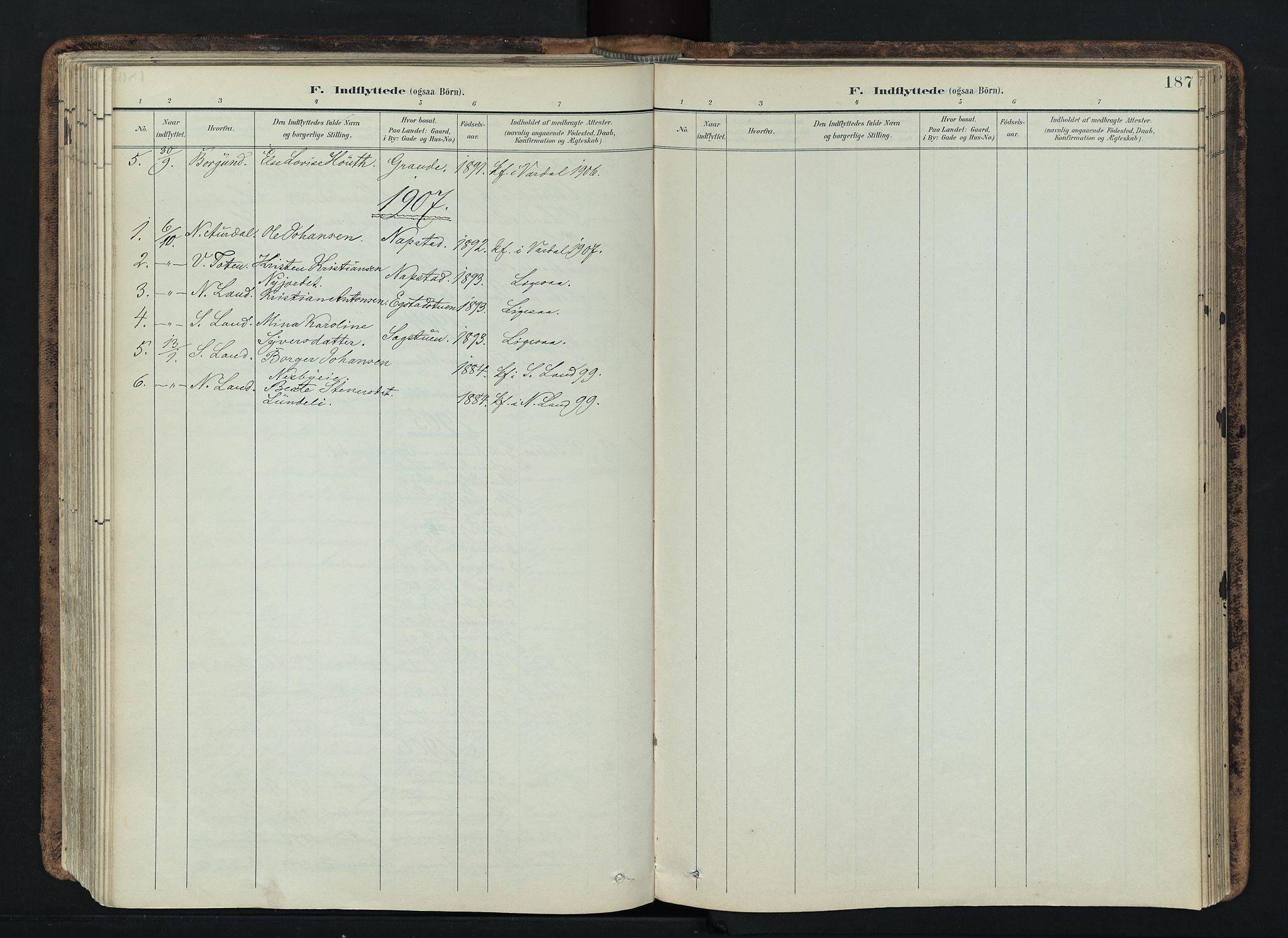 SAH, Vardal prestekontor, H/Ha/Haa/L0019: Ministerialbok nr. 19, 1893-1907, s. 187