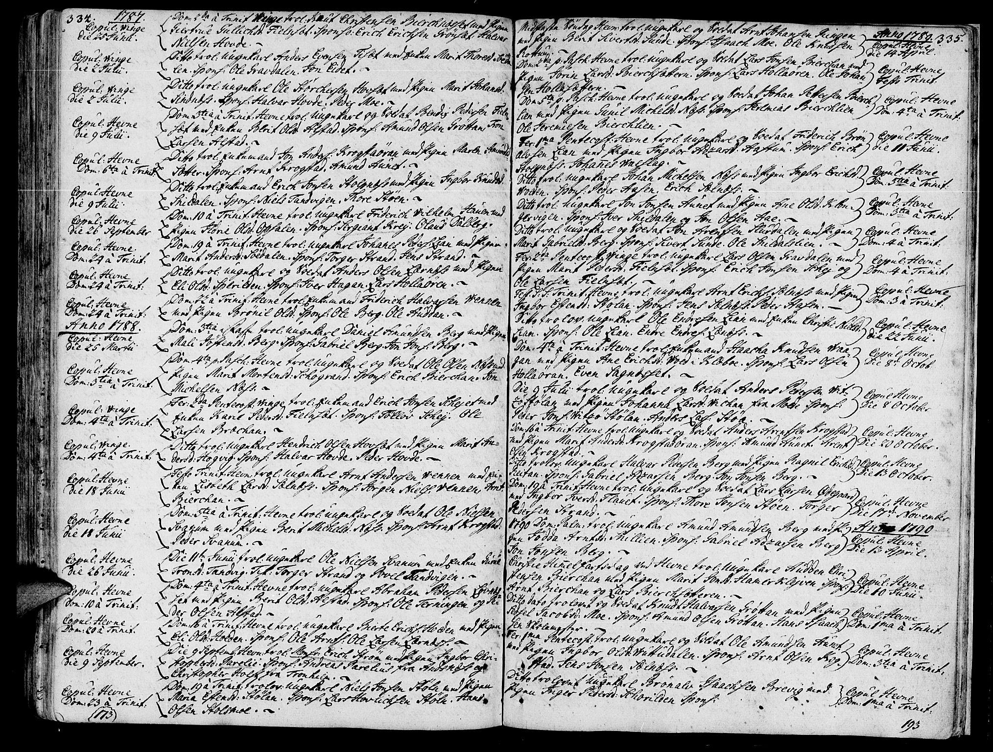 SAT, Ministerialprotokoller, klokkerbøker og fødselsregistre - Sør-Trøndelag, 630/L0489: Ministerialbok nr. 630A02, 1757-1794, s. 334-335