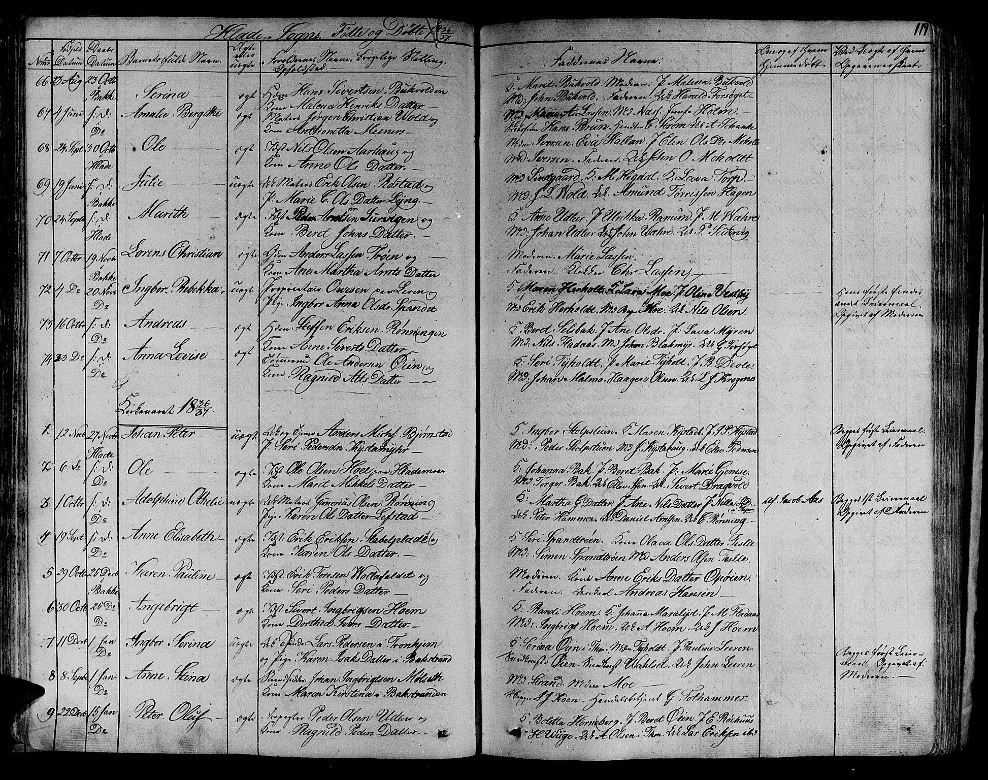 SAT, Ministerialprotokoller, klokkerbøker og fødselsregistre - Sør-Trøndelag, 606/L0286: Ministerialbok nr. 606A04 /1, 1823-1840, s. 119