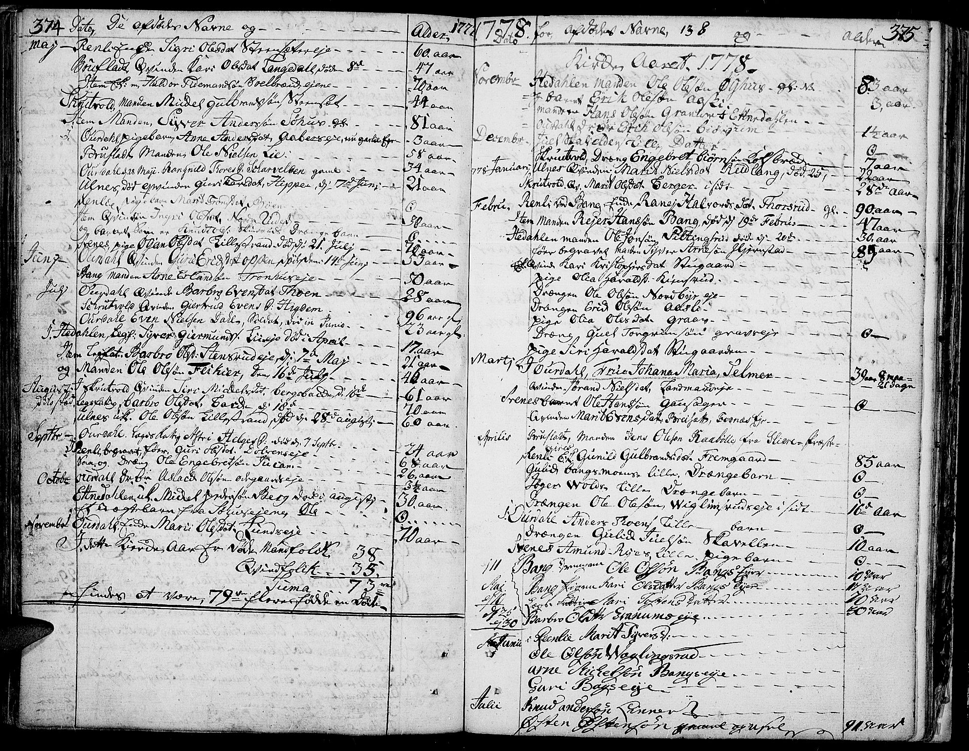 SAH, Aurdal prestekontor, Ministerialbok nr. 5, 1763-1781, s. 374-375