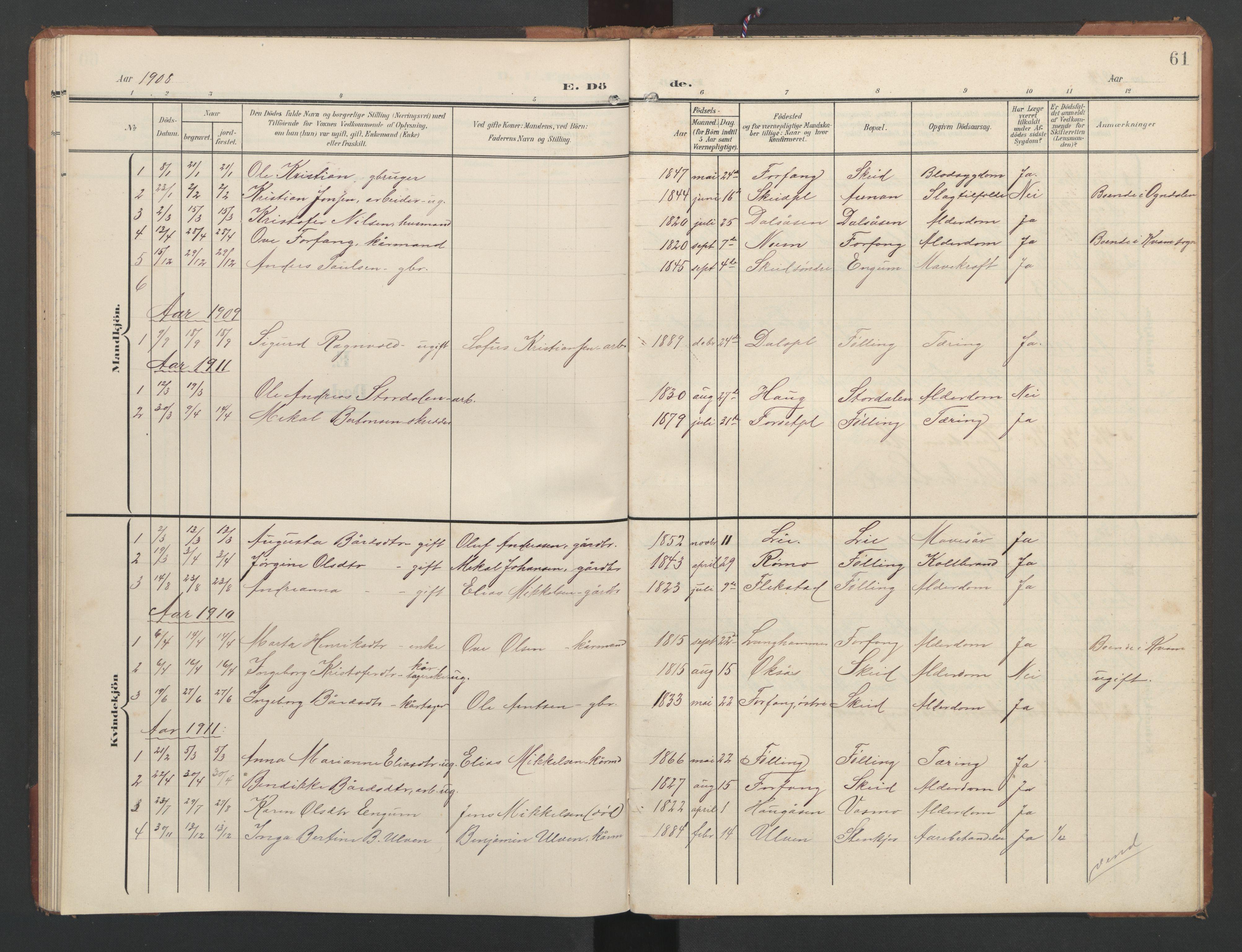 SAT, Ministerialprotokoller, klokkerbøker og fødselsregistre - Nord-Trøndelag, 748/L0465: Klokkerbok nr. 748C01, 1908-1960, s. 61
