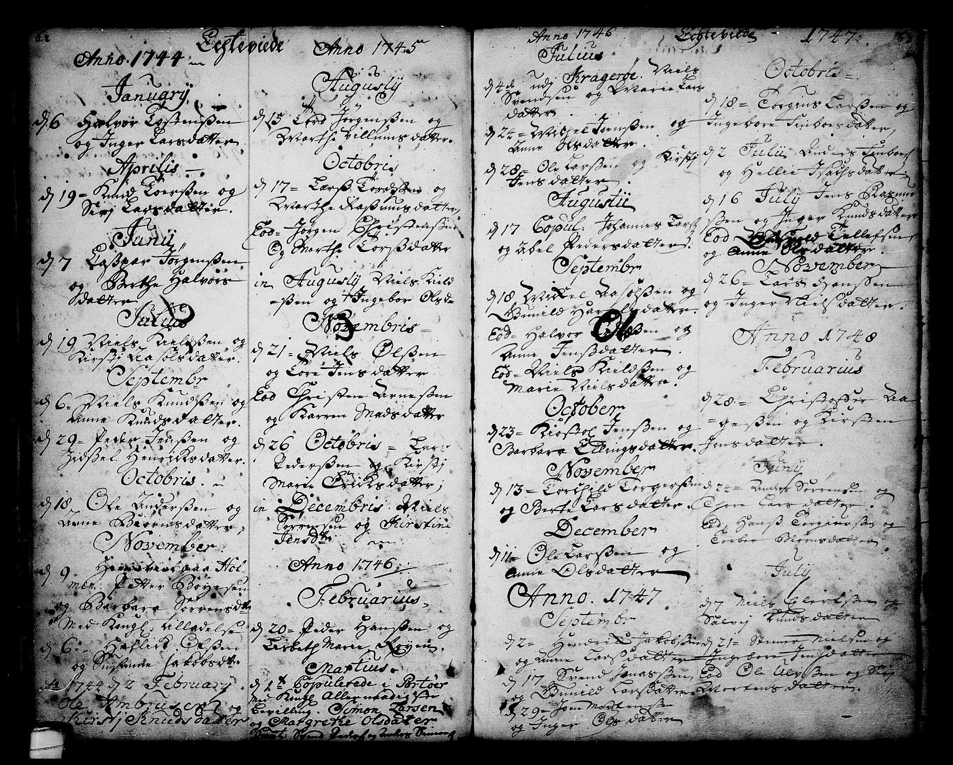 SAKO, Sannidal kirkebøker, F/Fa/L0001: Ministerialbok nr. 1, 1702-1766, s. 62-63