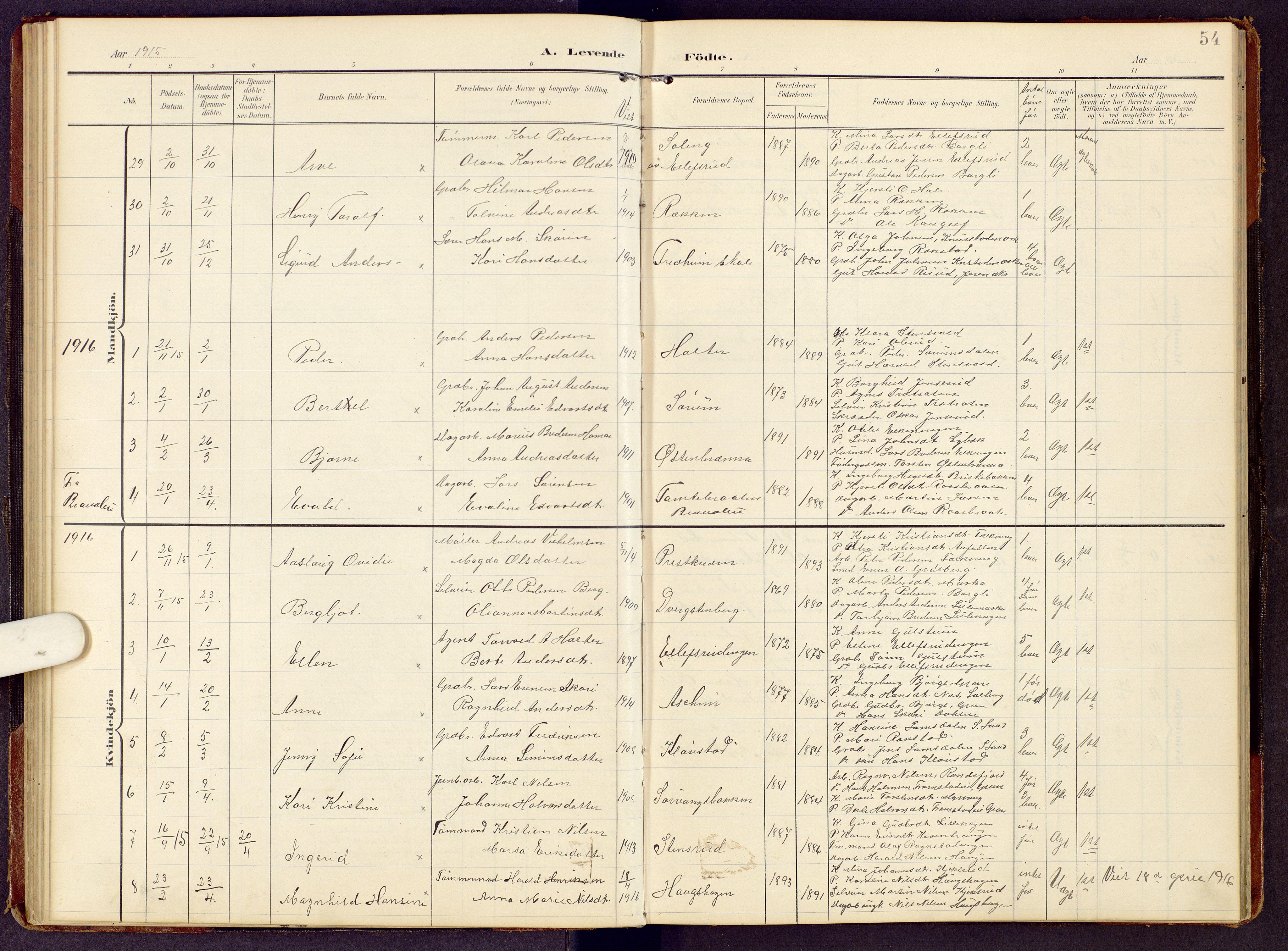 SAH, Brandbu prestekontor, Klokkerbok nr. 9, 1903-1916, s. 54