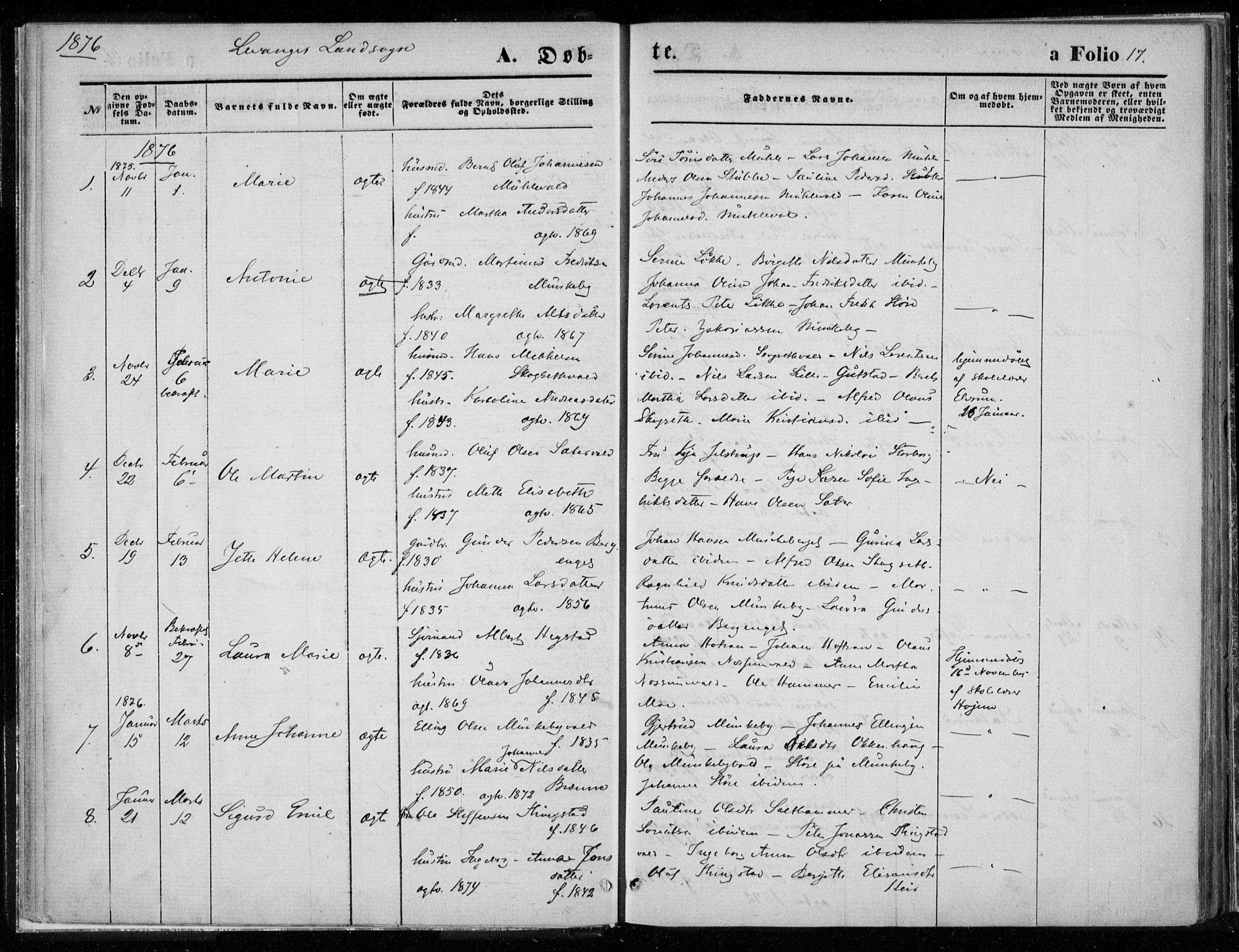 SAT, Ministerialprotokoller, klokkerbøker og fødselsregistre - Nord-Trøndelag, 720/L0187: Ministerialbok nr. 720A04 /2, 1875-1879, s. 17