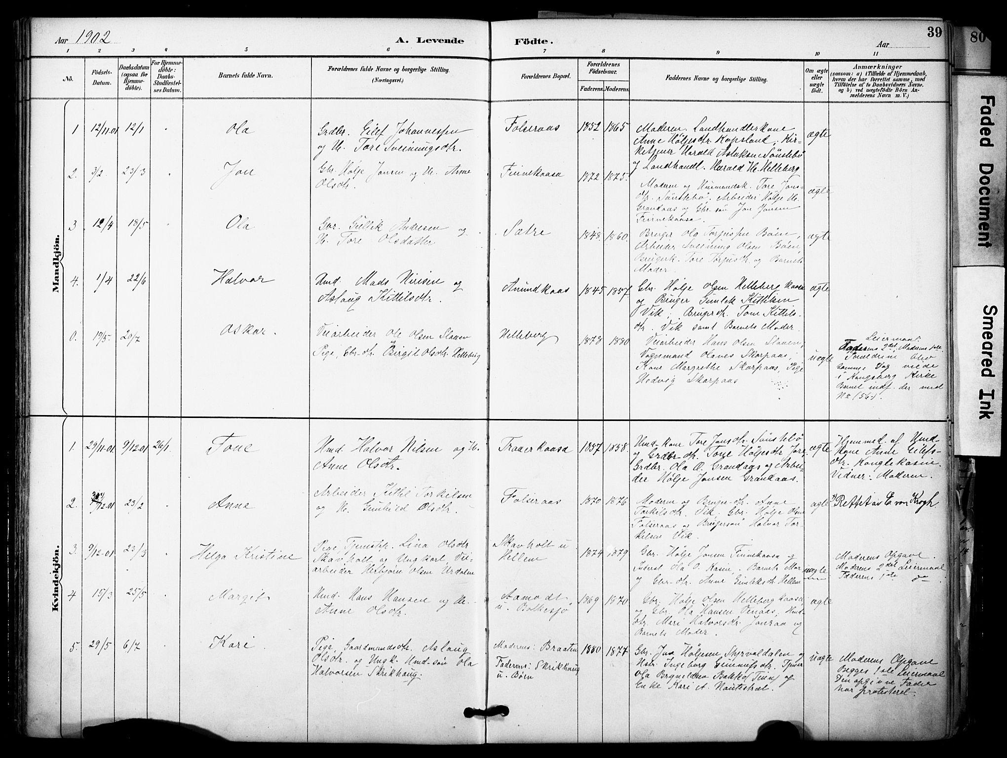 SAKO, Gransherad kirkebøker, F/Fa/L0005: Ministerialbok nr. I 5, 1887-1916, s. 39
