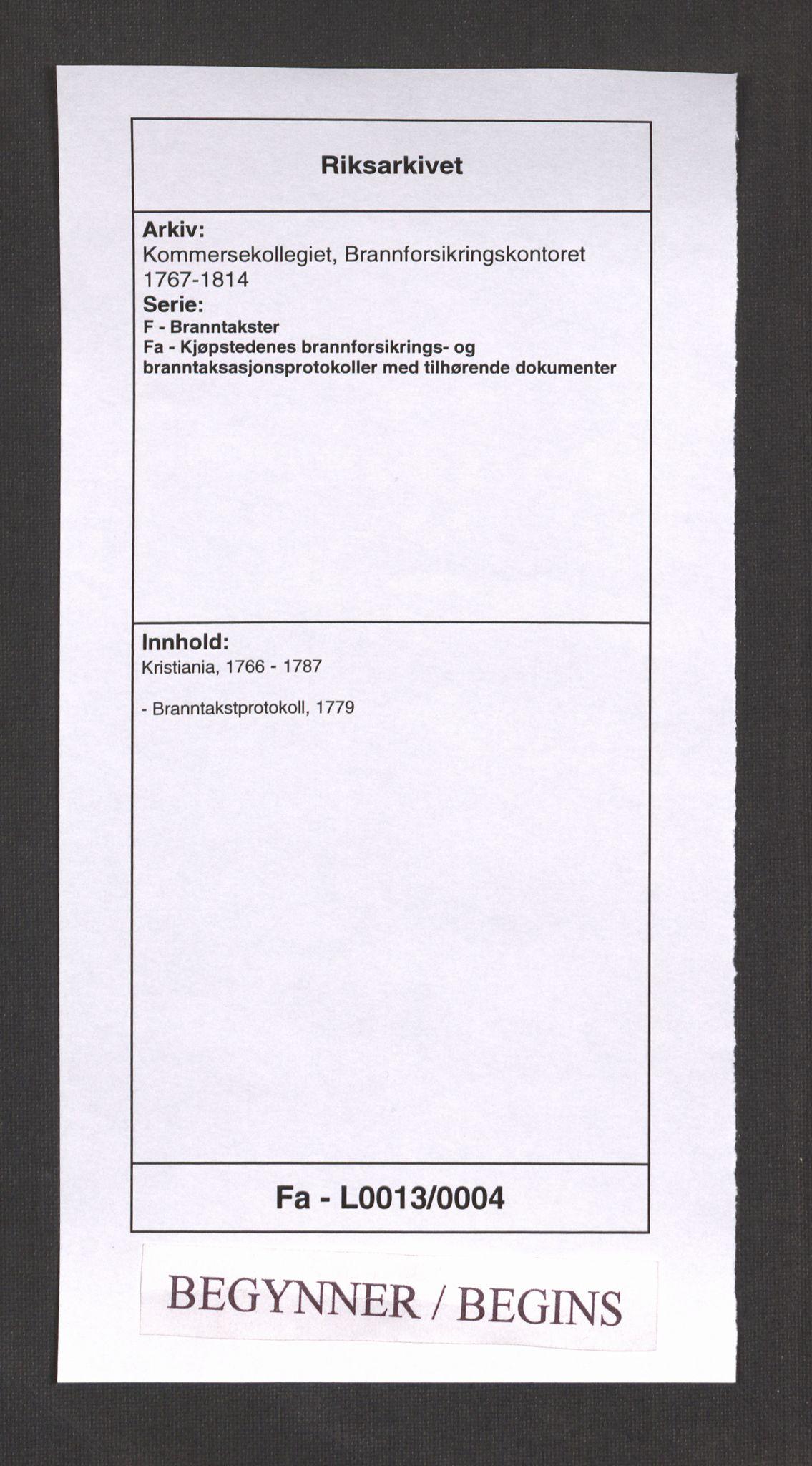 RA, Kommersekollegiet, Brannforsikringskontoret 1767-1814, F/Fa/L0013: Kristiania, 1779