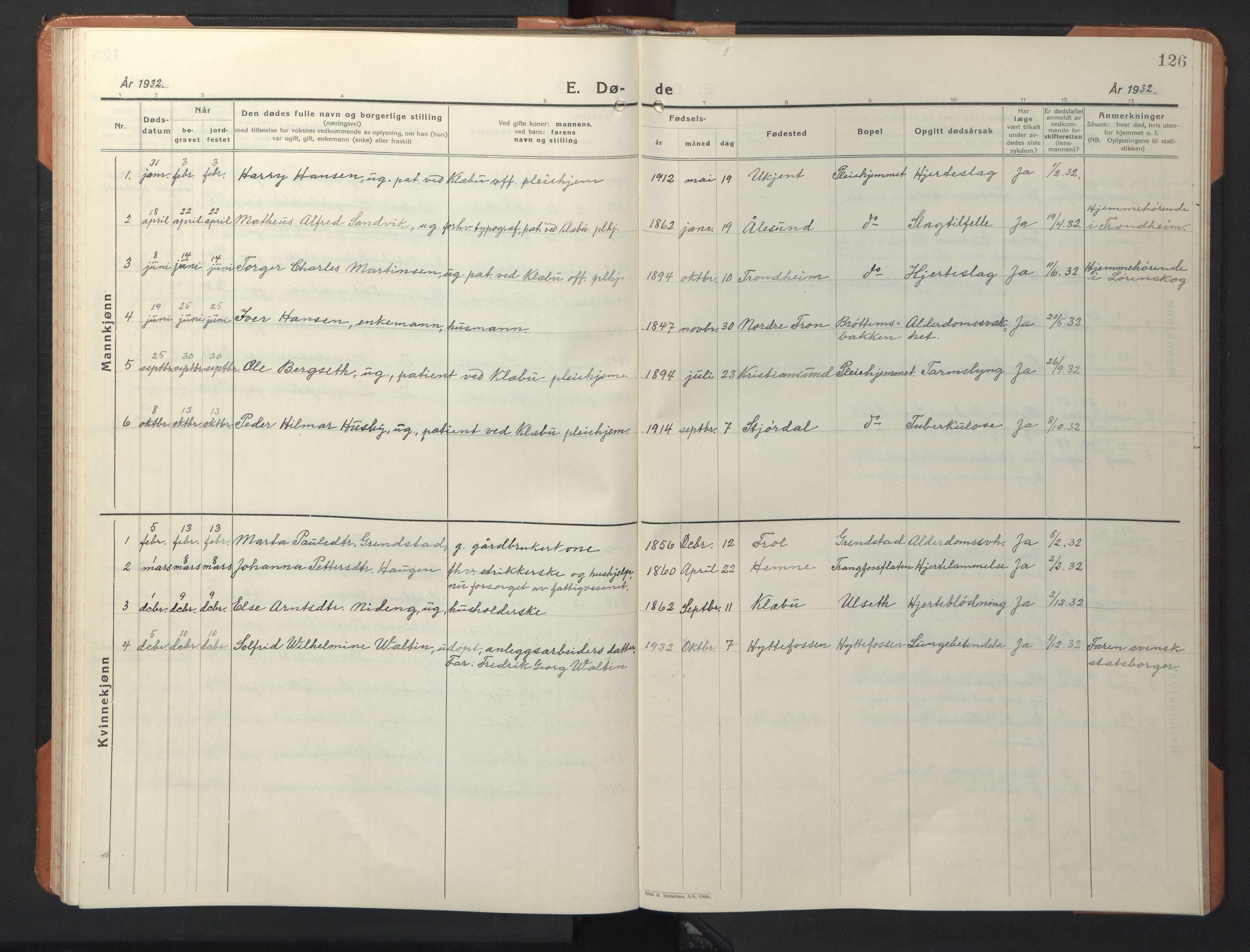 SAT, Ministerialprotokoller, klokkerbøker og fødselsregistre - Sør-Trøndelag, 618/L0454: Klokkerbok nr. 618C05, 1926-1946, s. 126