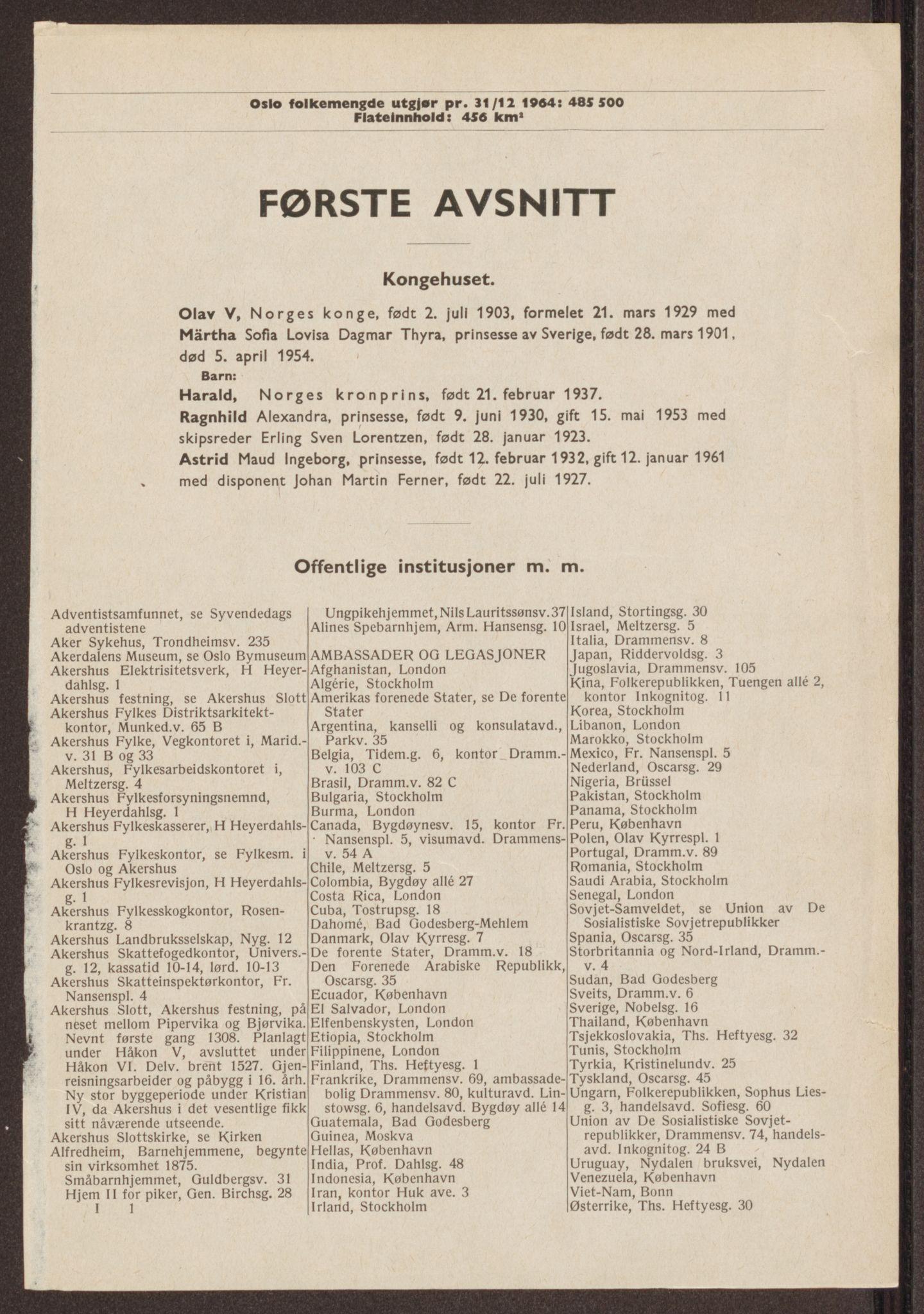RA, Oslo adressebok (publikasjon)*, 1965-1966, s. 1