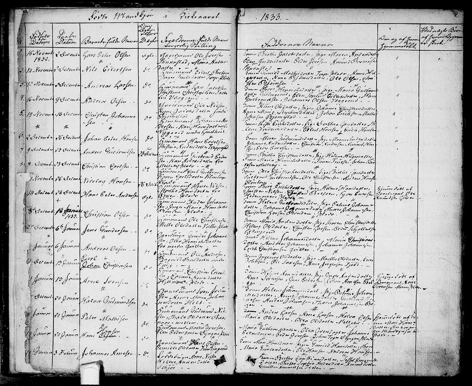 SAO, Eidsberg prestekontor Kirkebøker, F/Fa/L0008: Ministerialbok nr. I 8, 1832-1848, s. 4