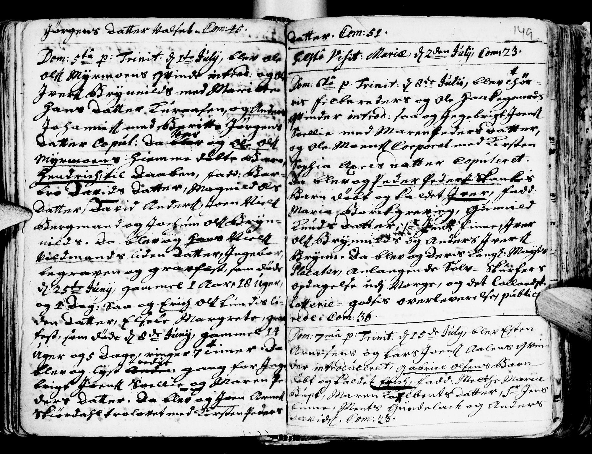SAT, Ministerialprotokoller, klokkerbøker og fødselsregistre - Sør-Trøndelag, 681/L0924: Ministerialbok nr. 681A02, 1720-1731, s. 148-149