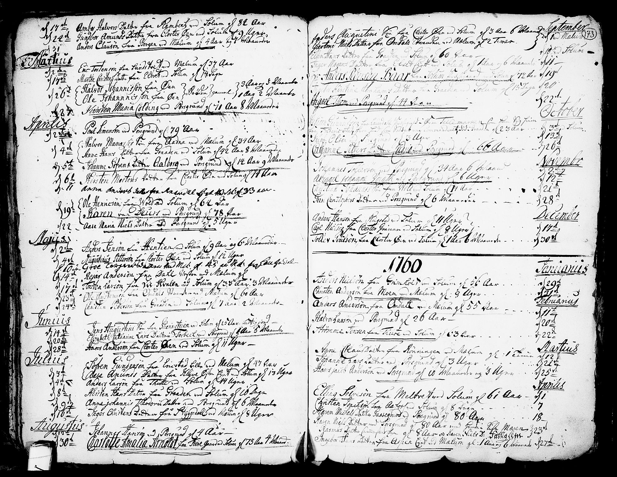 SAKO, Solum kirkebøker, F/Fa/L0002: Ministerialbok nr. I 2, 1713-1761, s. 173