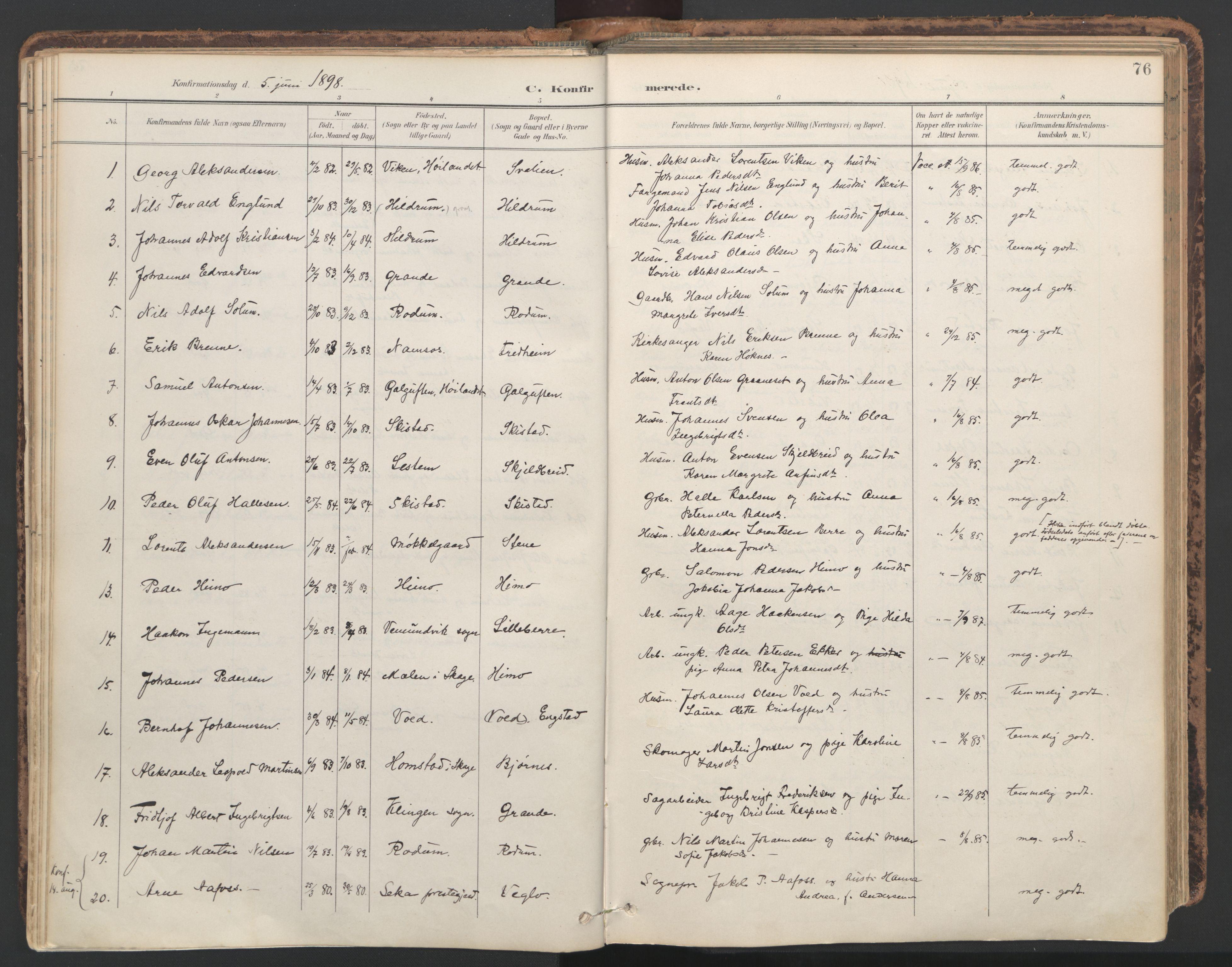 SAT, Ministerialprotokoller, klokkerbøker og fødselsregistre - Nord-Trøndelag, 764/L0556: Ministerialbok nr. 764A11, 1897-1924, s. 76