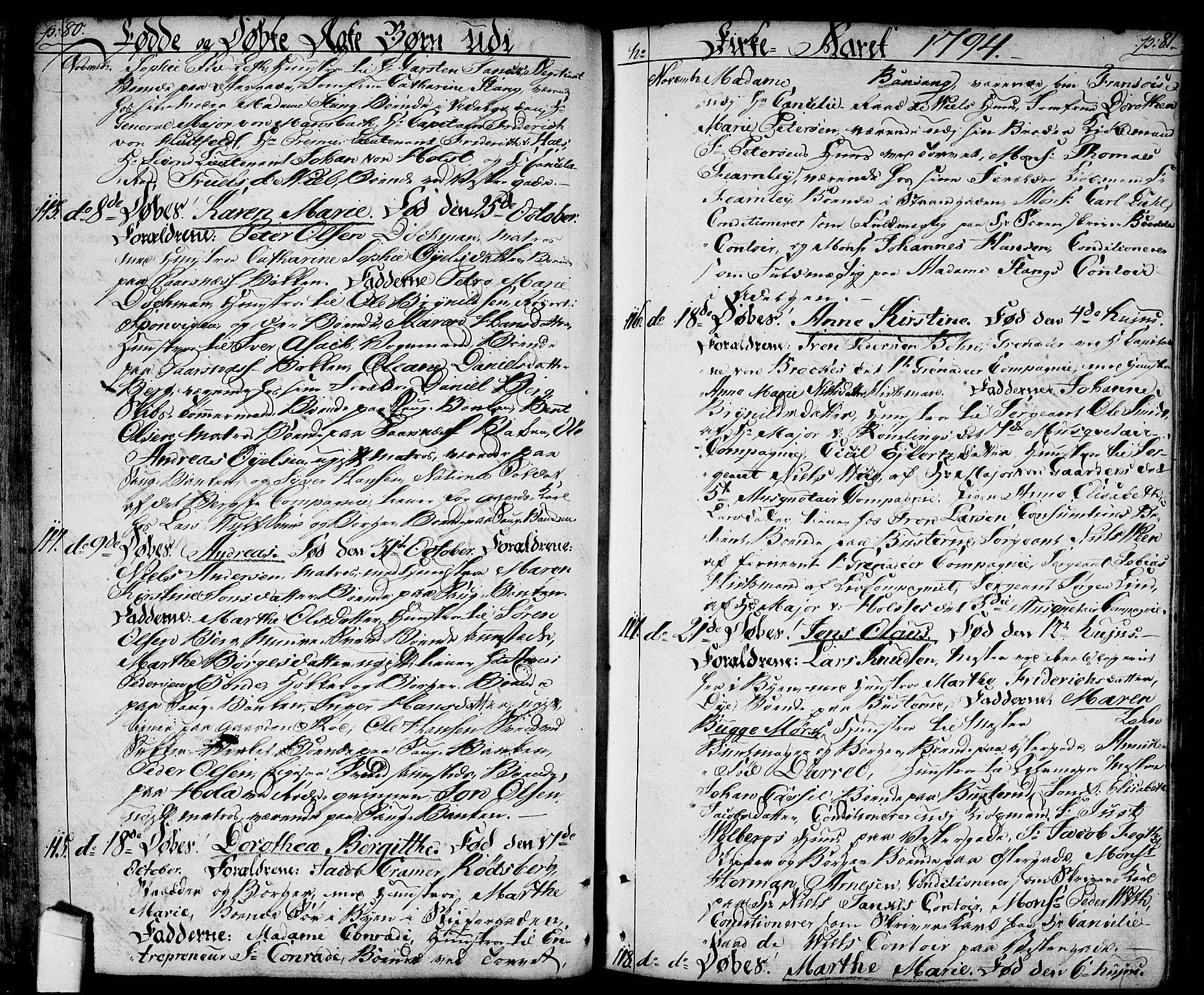 SAO, Halden prestekontor Kirkebøker, F/Fa/L0002: Ministerialbok nr. I 2, 1792-1812, s. 80-81