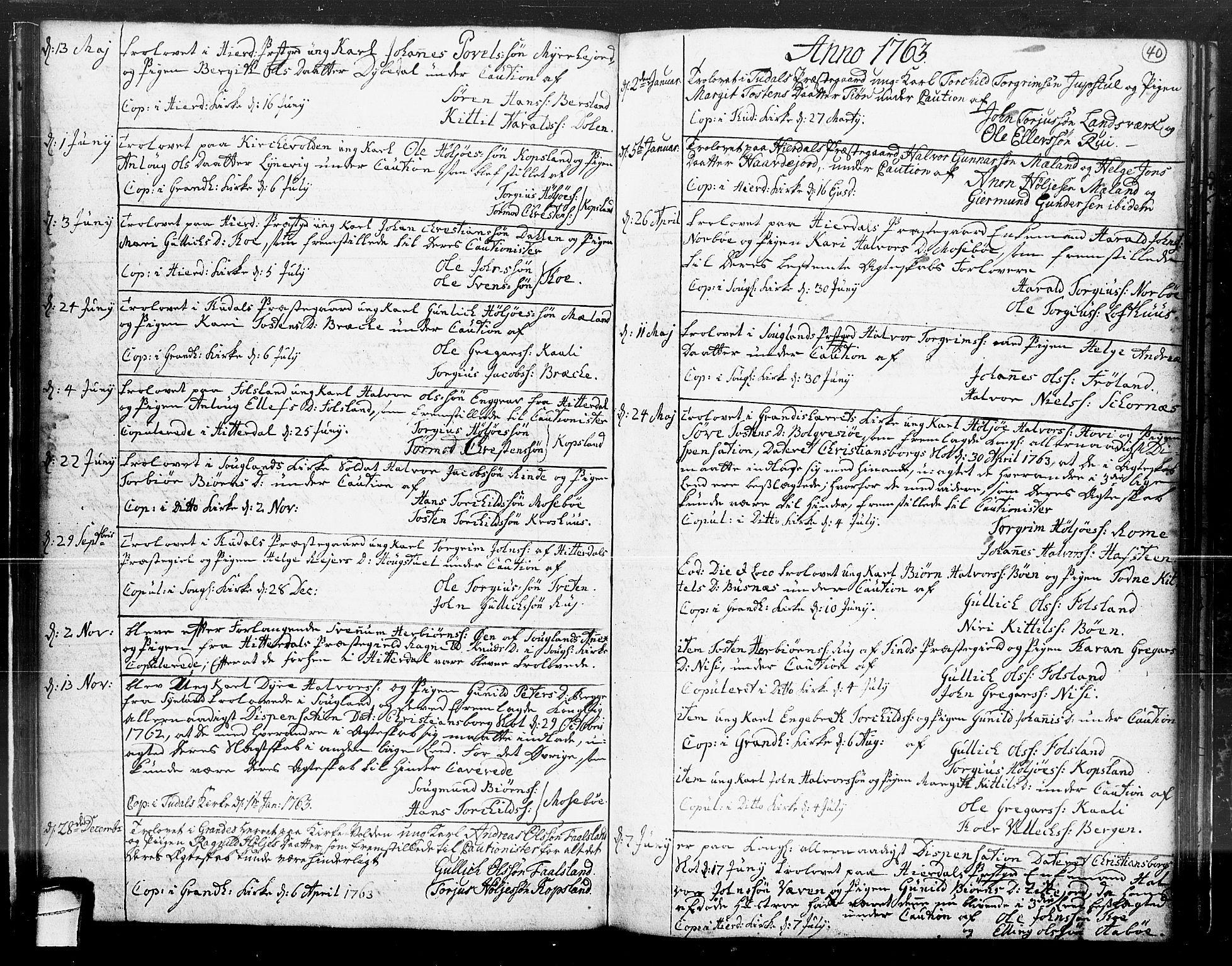 SAKO, Hjartdal kirkebøker, F/Fa/L0004: Ministerialbok nr. I 4, 1727-1795, s. 40