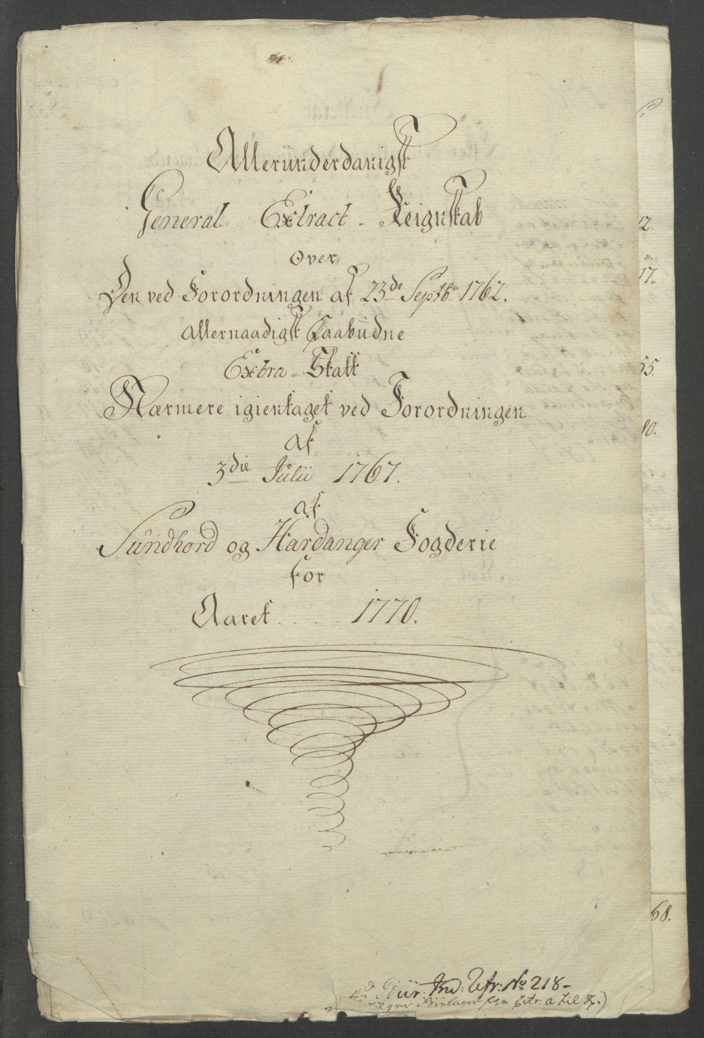 RA, Rentekammeret inntil 1814, Reviderte regnskaper, Fogderegnskap, R48/L3136: Ekstraskatten Sunnhordland og Hardanger, 1762-1772, s. 204