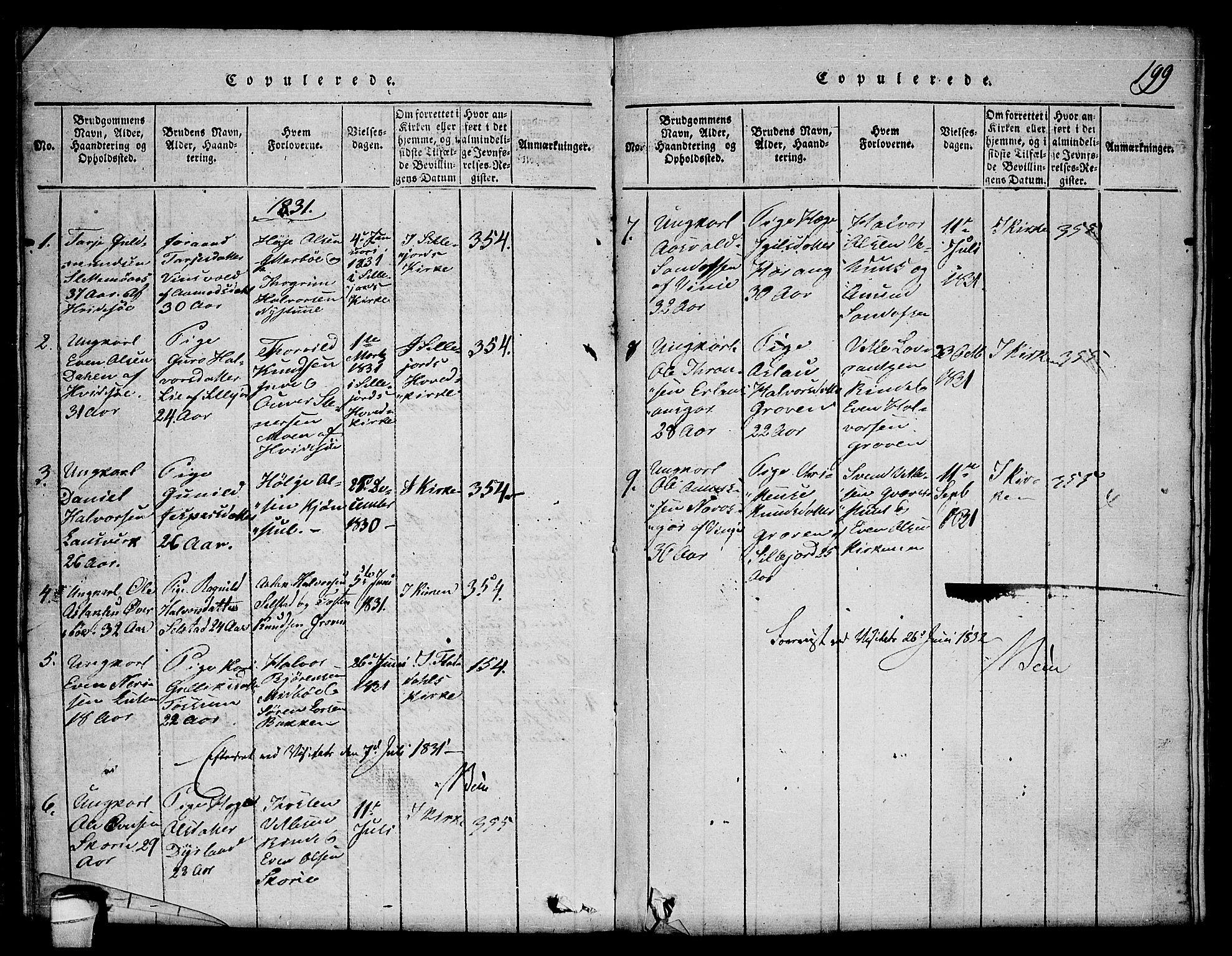 SAKO, Seljord kirkebøker, F/Fc/L0001: Ministerialbok nr. III 1, 1815-1831, s. 199