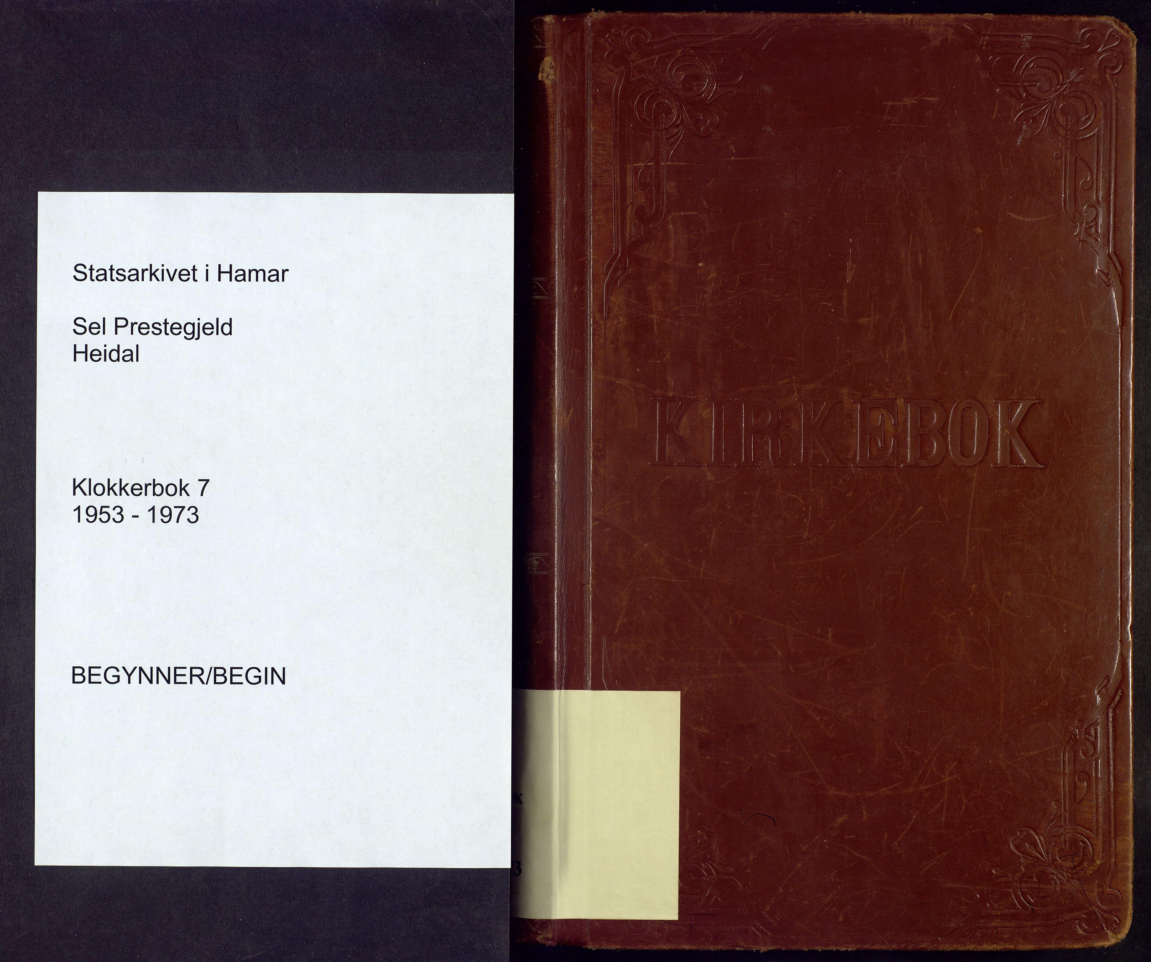 SAH, Sel prestekontor, Klokkerbok nr. 7, 1953-1973
