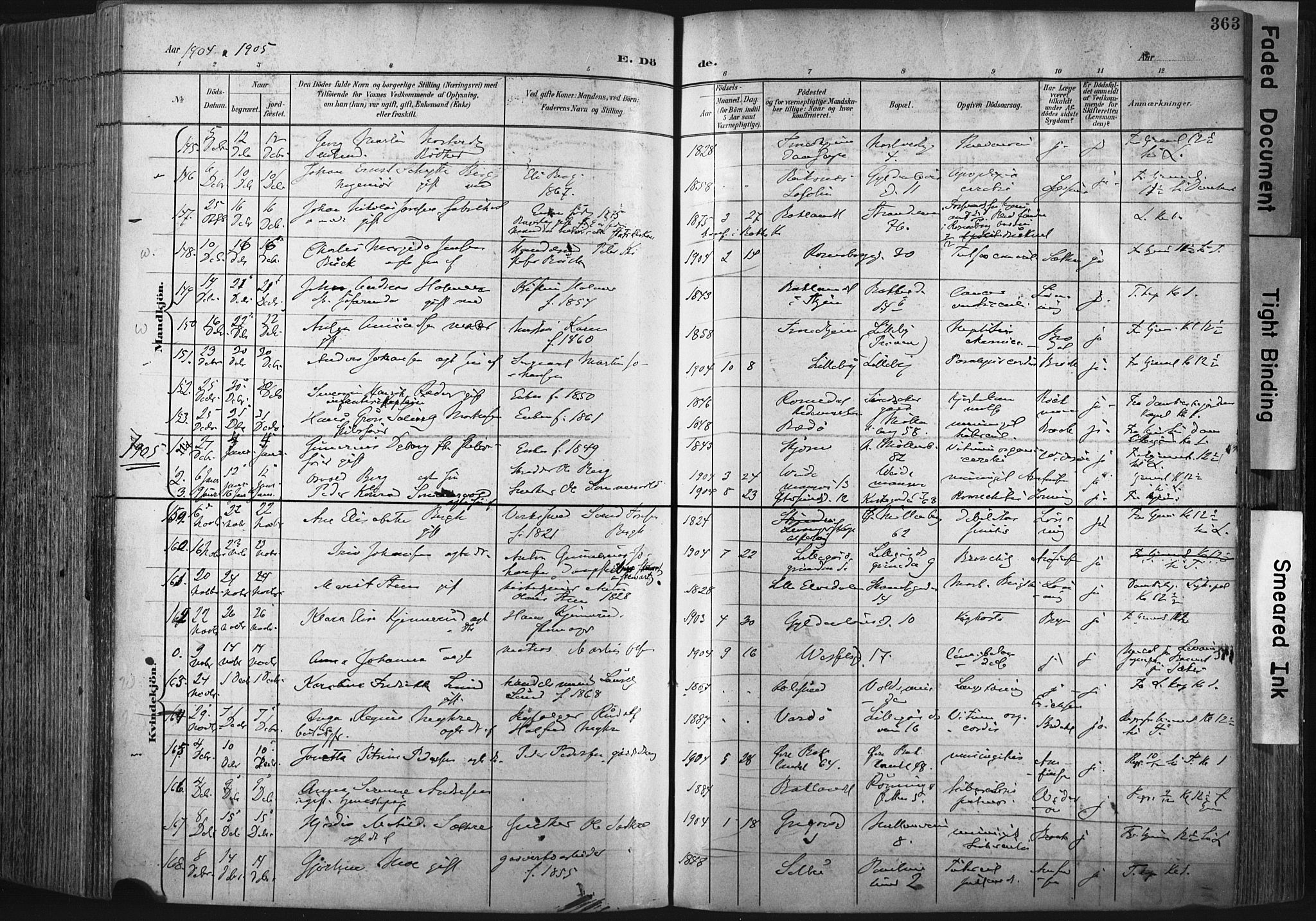 SAT, Ministerialprotokoller, klokkerbøker og fødselsregistre - Sør-Trøndelag, 604/L0201: Ministerialbok nr. 604A21, 1901-1911, s. 363