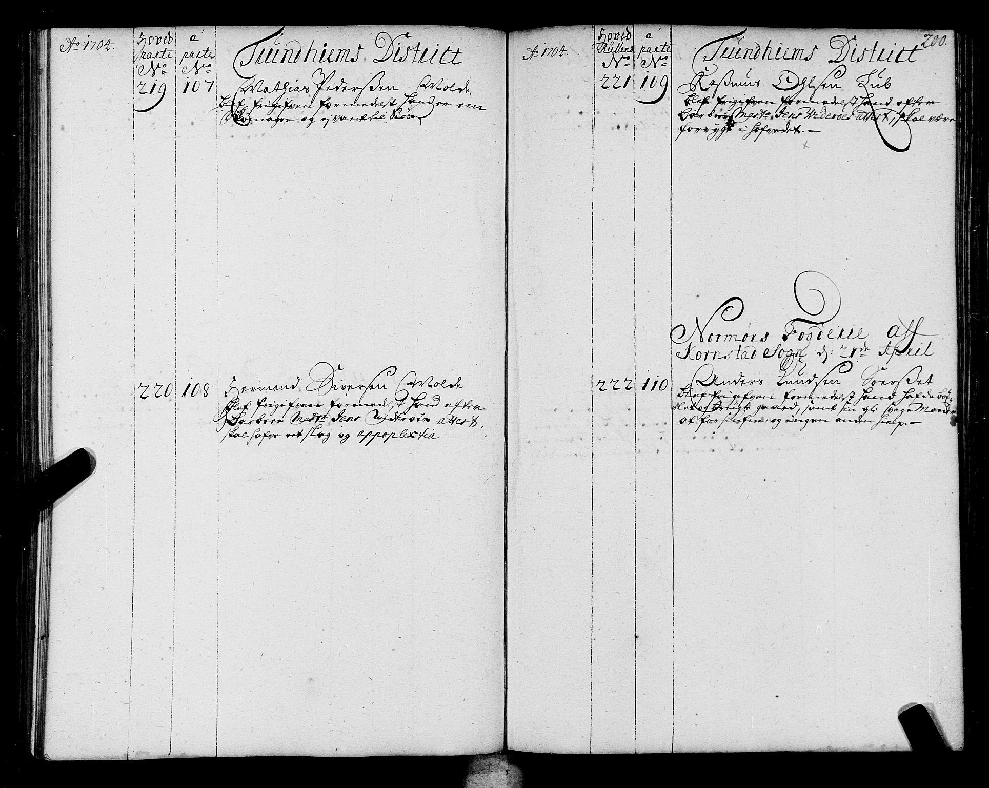 SAT, Sjøinnrulleringen - Trondhjemske distrikt, 01/L0004: Ruller over sjøfolk i Trondhjem by, 1704-1710, s. 200