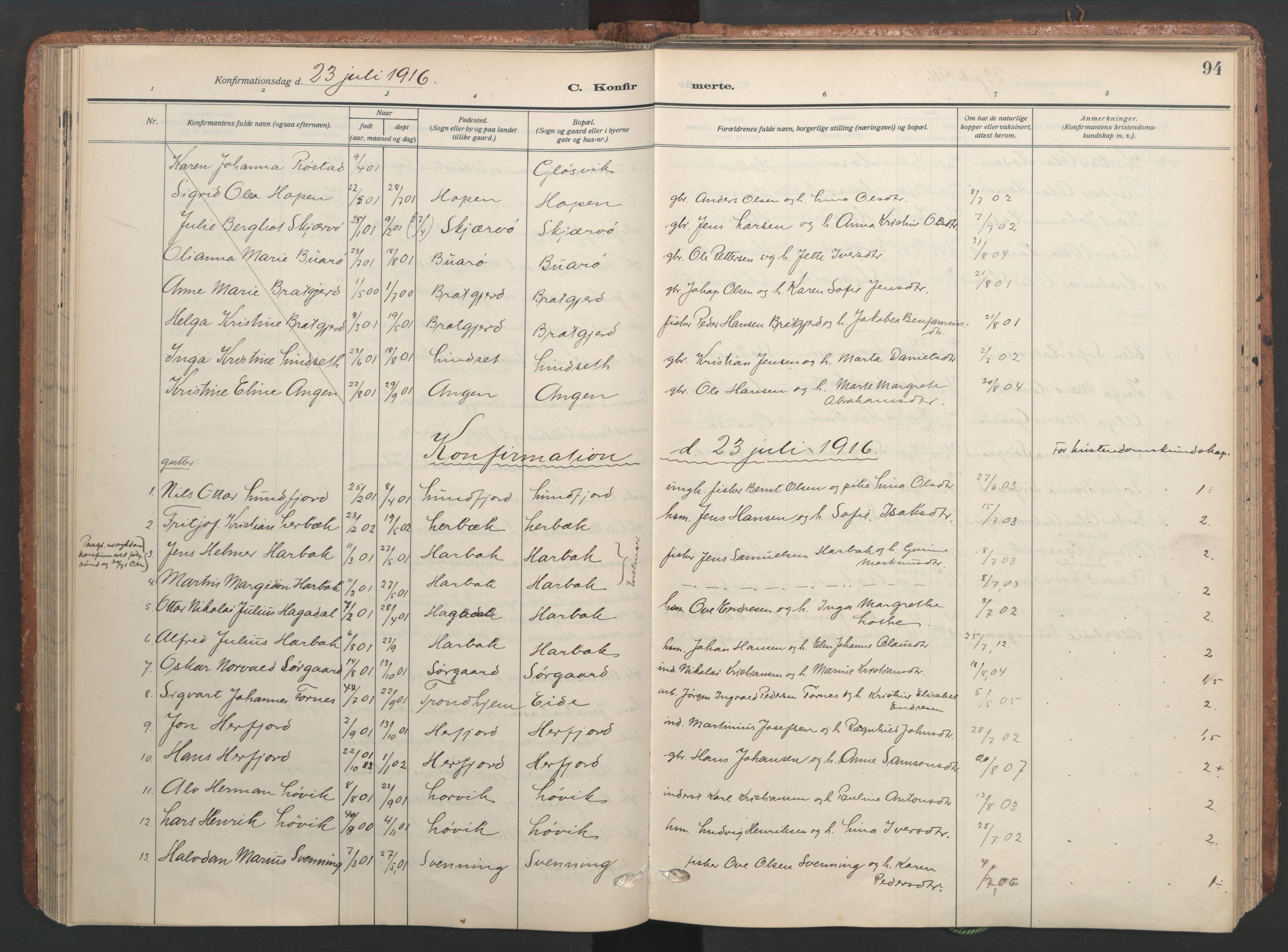 SAT, Ministerialprotokoller, klokkerbøker og fødselsregistre - Sør-Trøndelag, 656/L0694: Ministerialbok nr. 656A03, 1914-1931, s. 94