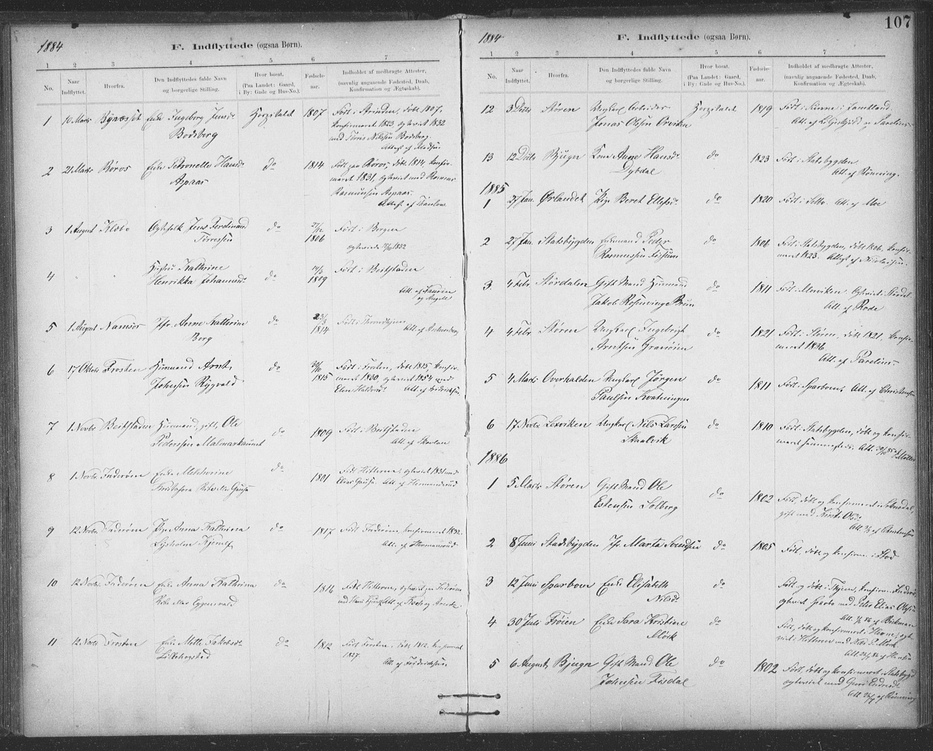 SAT, Ministerialprotokoller, klokkerbøker og fødselsregistre - Sør-Trøndelag, 623/L0470: Ministerialbok nr. 623A04, 1884-1938, s. 107