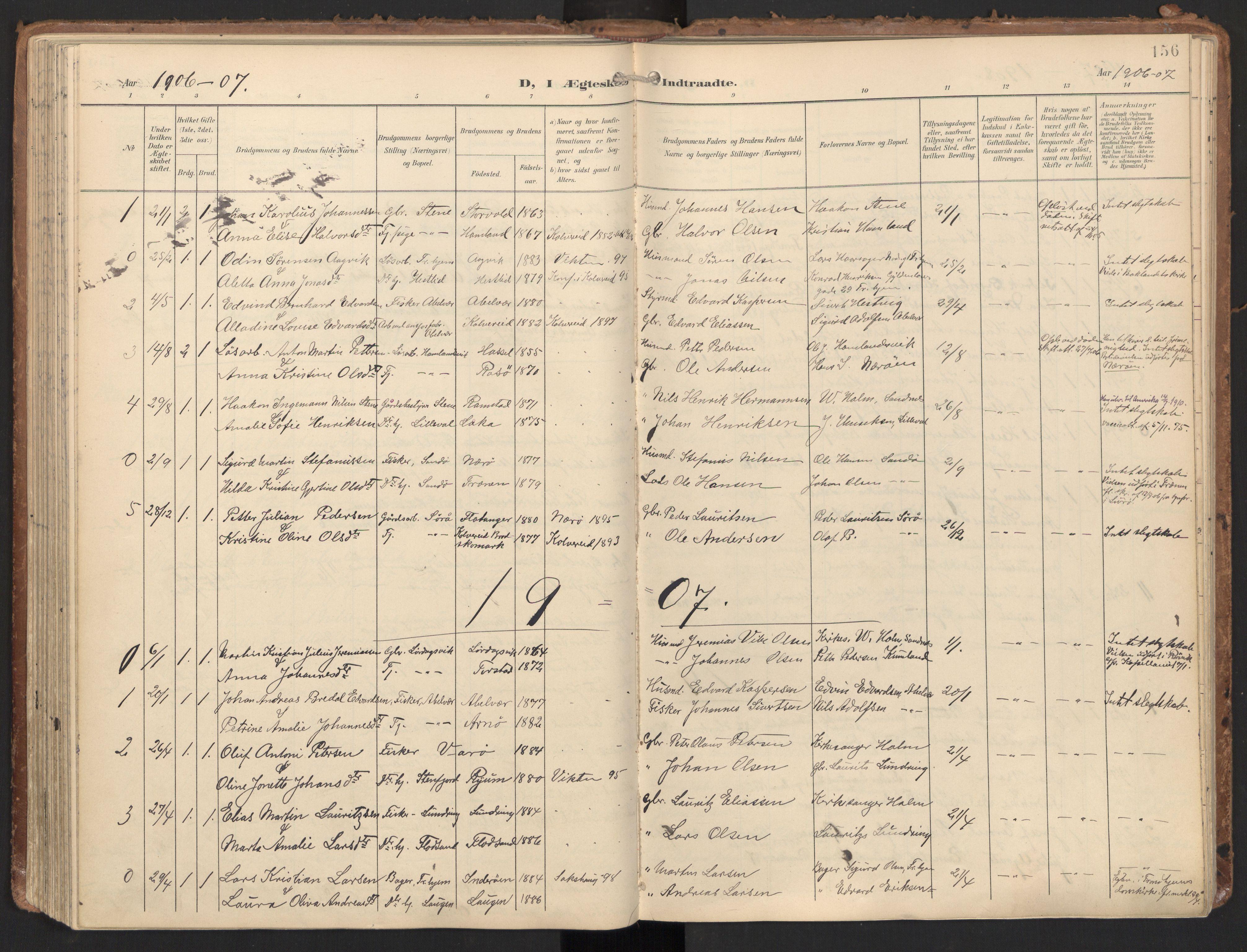 SAT, Ministerialprotokoller, klokkerbøker og fødselsregistre - Nord-Trøndelag, 784/L0677: Ministerialbok nr. 784A12, 1900-1920, s. 156