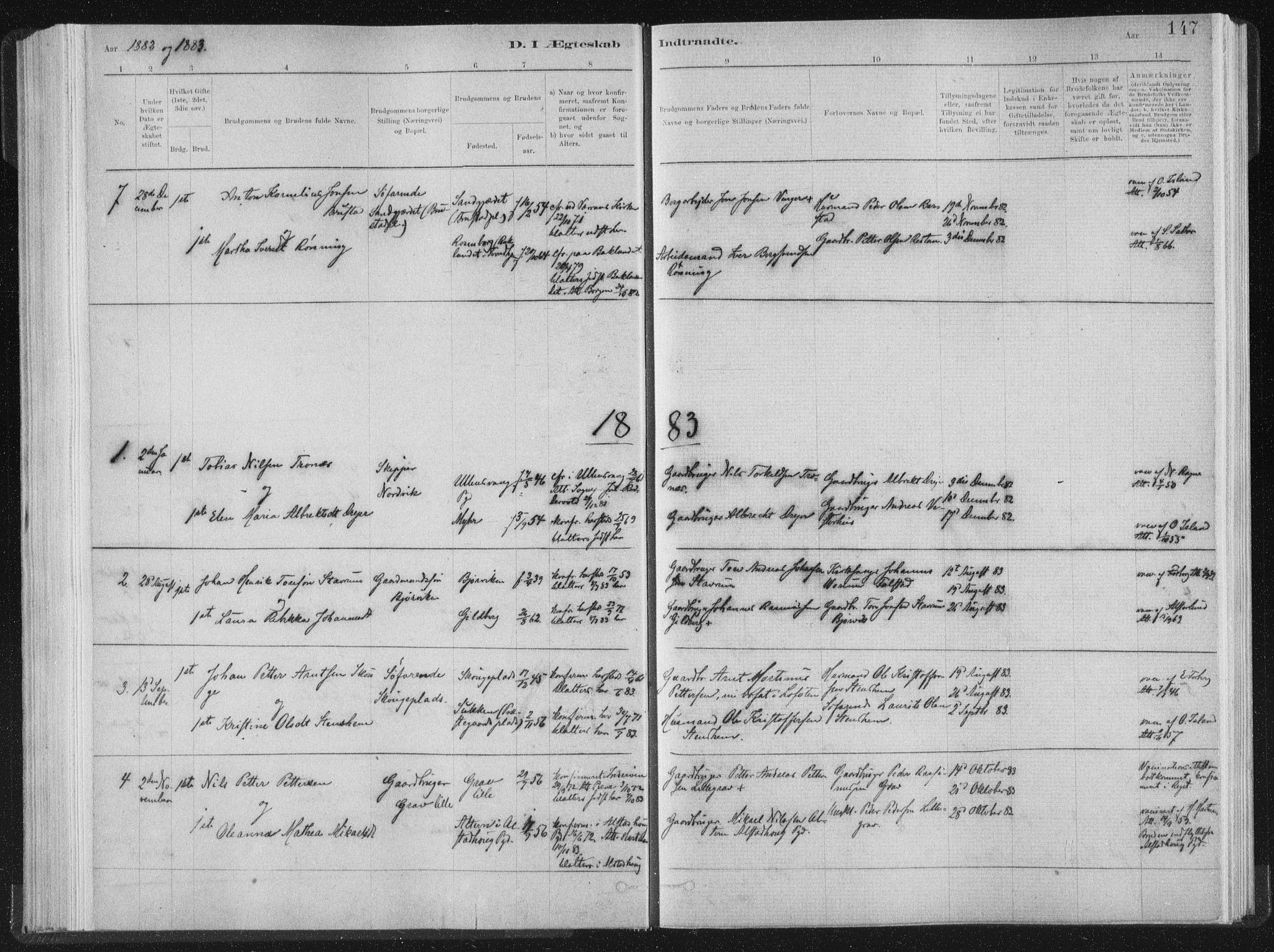 SAT, Ministerialprotokoller, klokkerbøker og fødselsregistre - Nord-Trøndelag, 722/L0220: Ministerialbok nr. 722A07, 1881-1908, s. 147