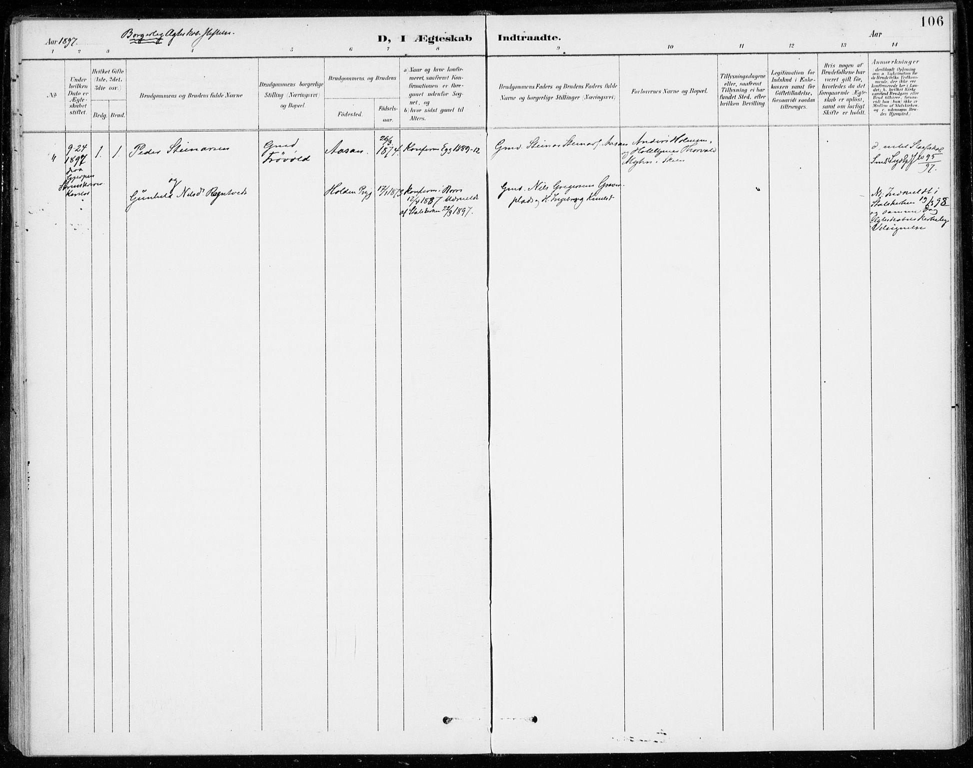 SAKO, Sigdal kirkebøker, F/Fc/L0002: Ministerialbok nr. III 2, 1894-1911, s. 106