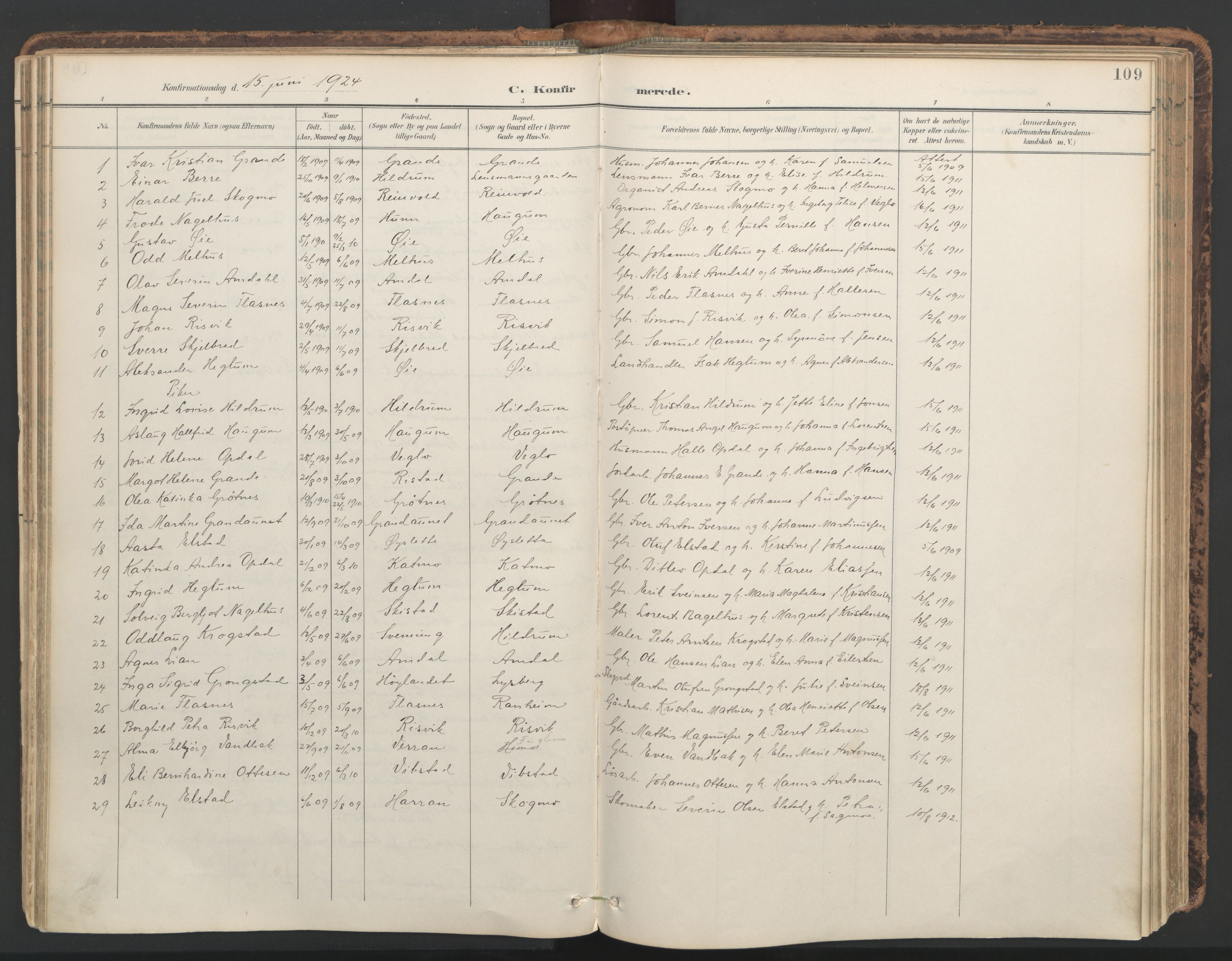 SAT, Ministerialprotokoller, klokkerbøker og fødselsregistre - Nord-Trøndelag, 764/L0556: Ministerialbok nr. 764A11, 1897-1924, s. 109