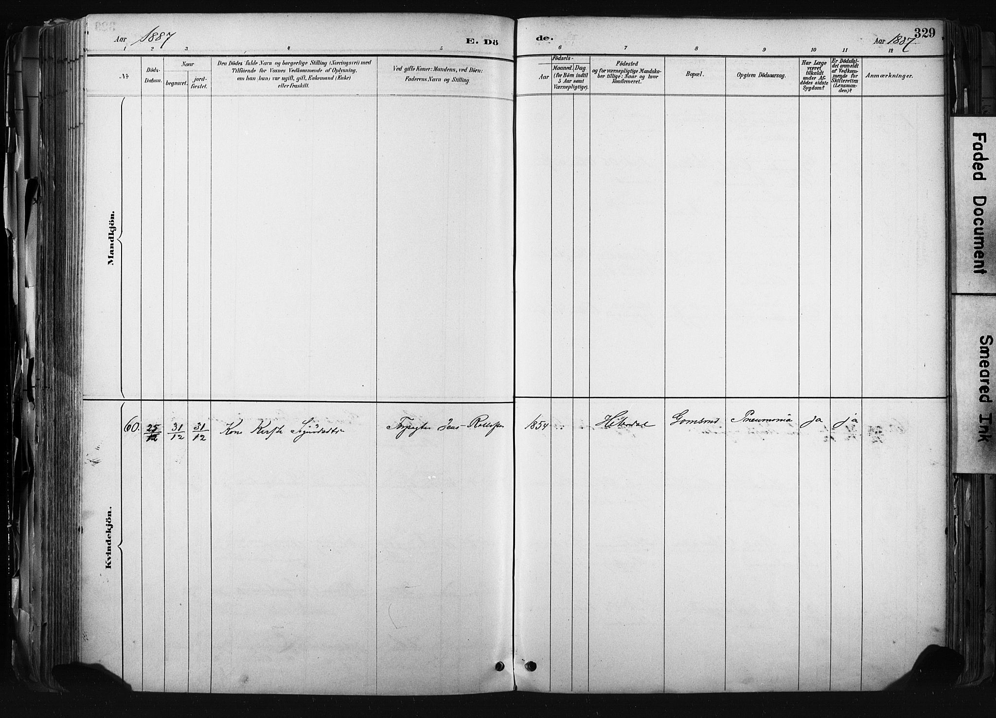 SAKO, Kongsberg kirkebøker, F/Fb/L0002: Ministerialbok nr. II 2, 1886-1896, s. 329