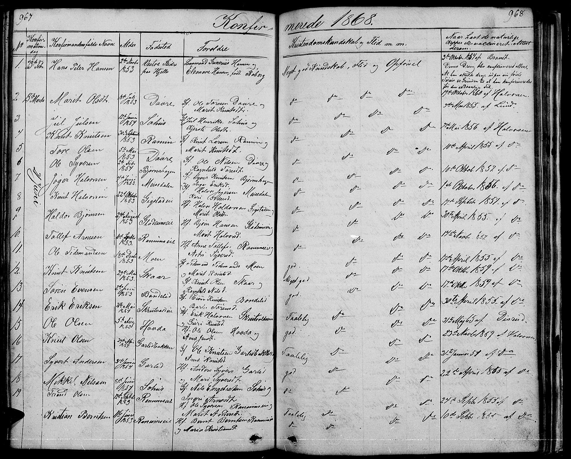 SAH, Nord-Aurdal prestekontor, Klokkerbok nr. 1, 1834-1887, s. 967-968