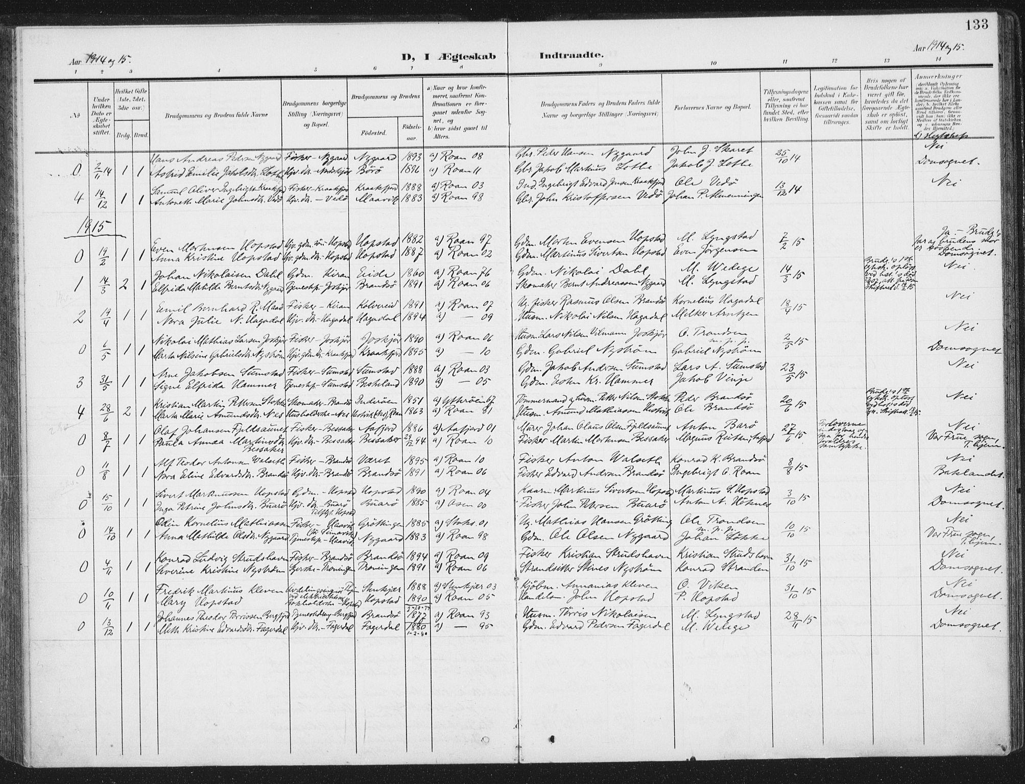 SAT, Ministerialprotokoller, klokkerbøker og fødselsregistre - Sør-Trøndelag, 657/L0709: Ministerialbok nr. 657A10, 1905-1919, s. 133