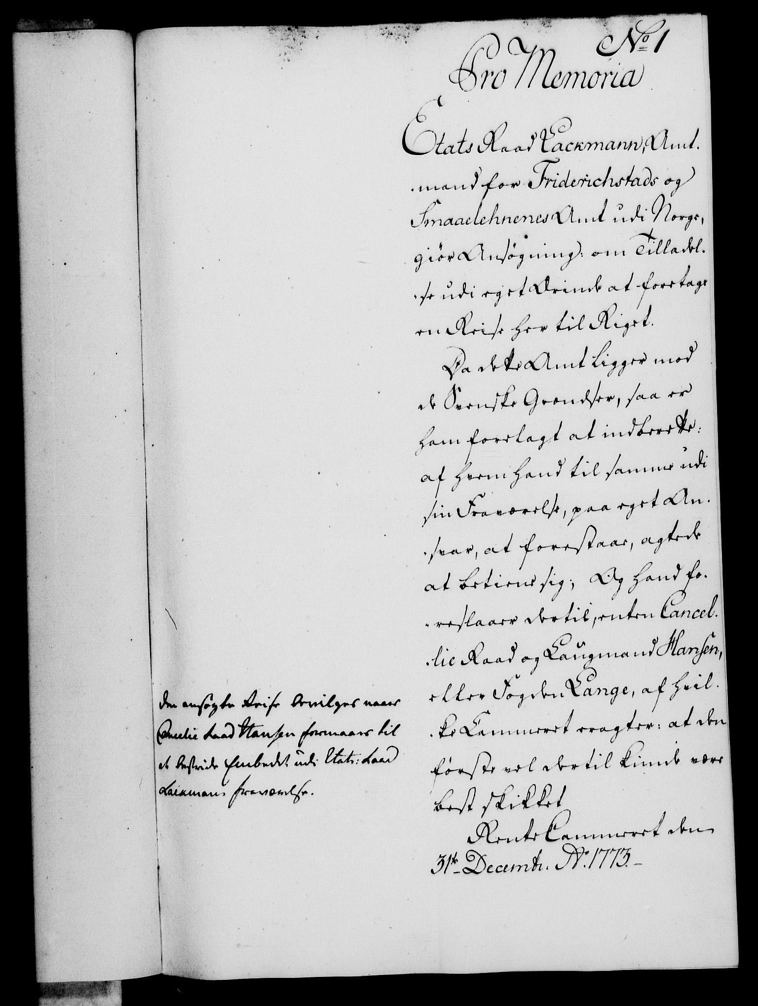 RA, Rentekammeret, Kammerkanselliet, G/Gf/Gfa/L0056: Norsk relasjons- og resolusjonsprotokoll (merket RK 52.56), 1774, s. 26